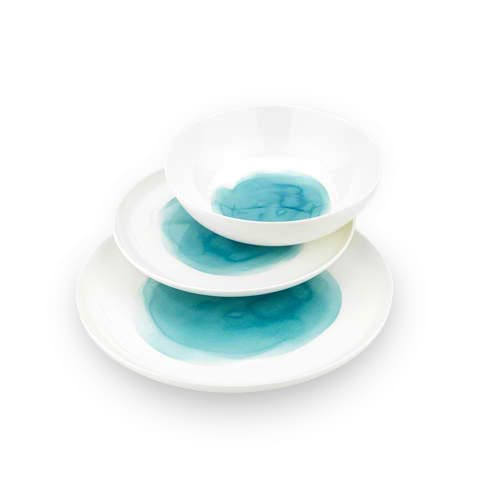 Ecology Watercolour Aqua Dinner Set 12pc