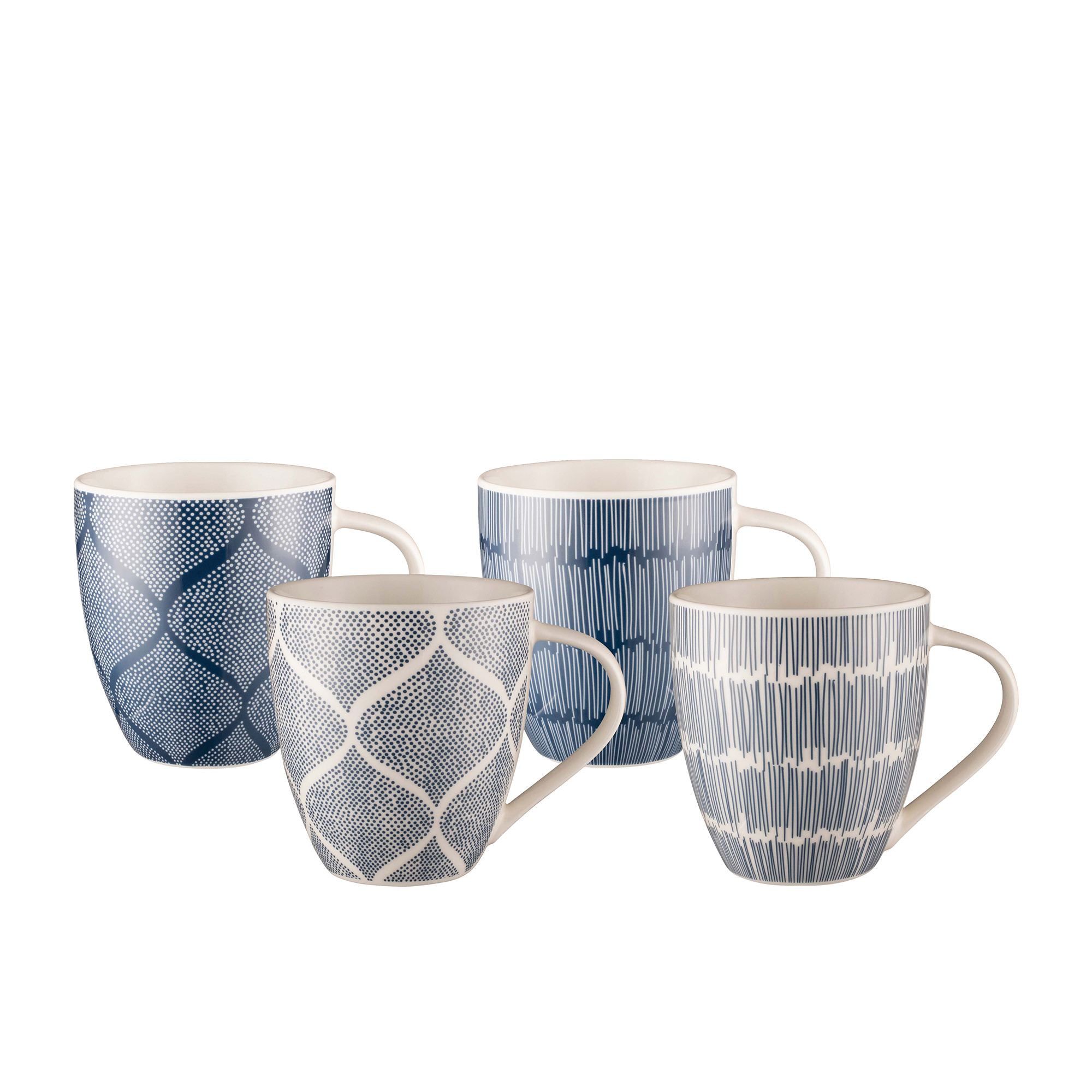 Bundanoon Mug Company 4pc Mug Set 500ml Indigo Sketch