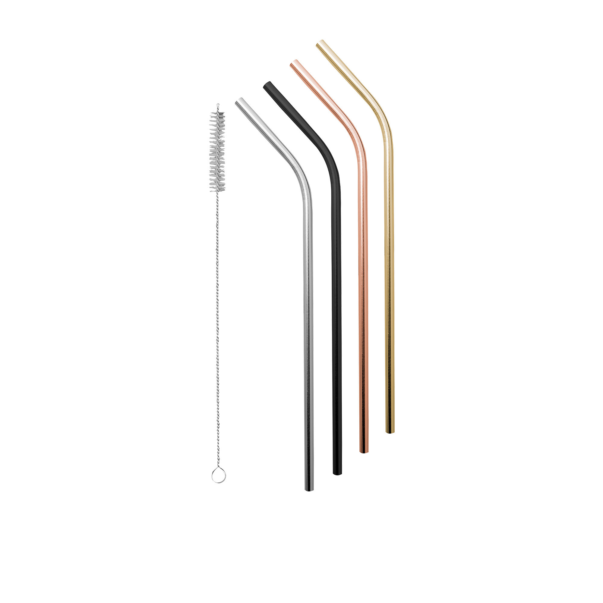 Avanti Stainless Steel Straw w/ Cleaning Brush Set of 4 Precious Metals