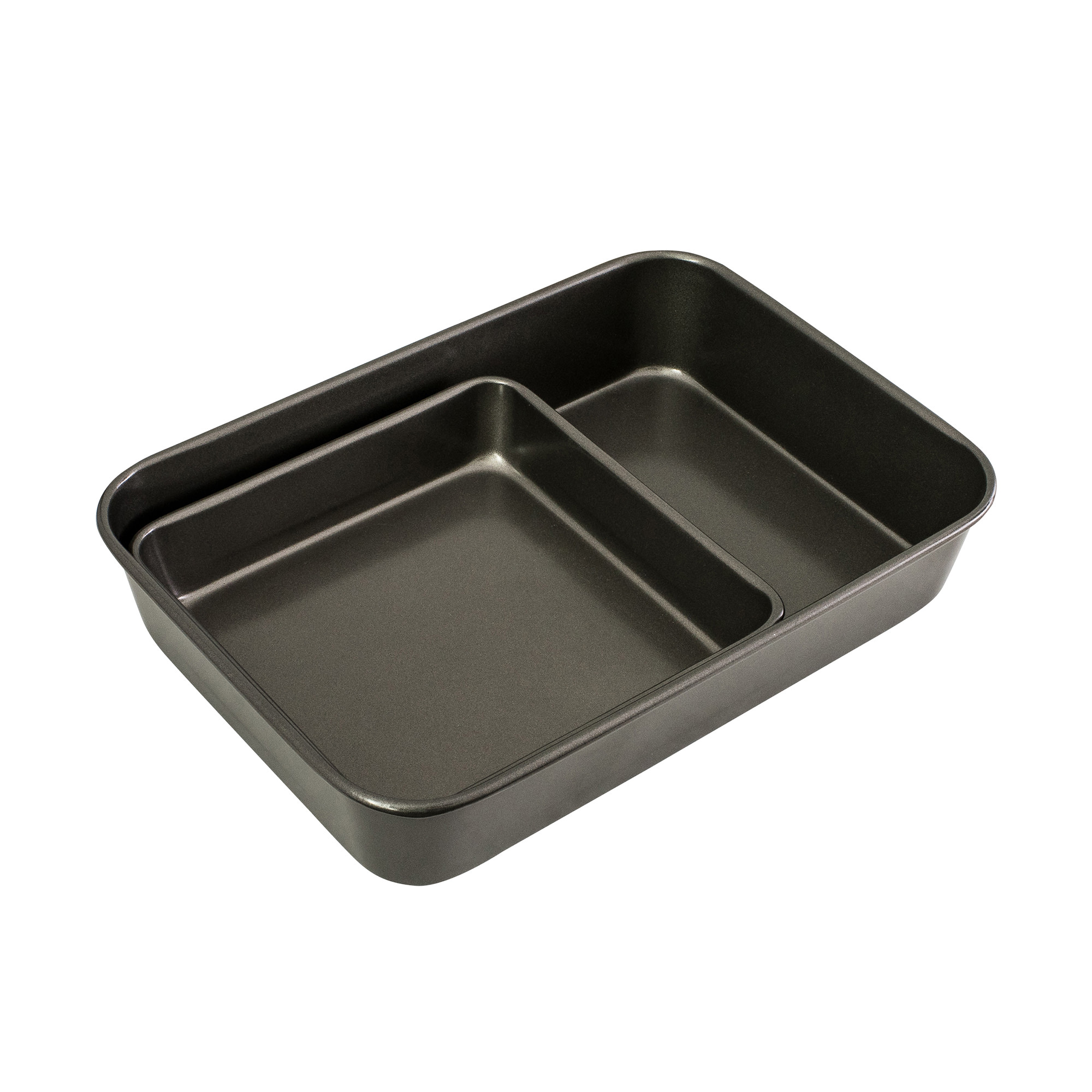 Bakemaster Non Stick Twin Roasting Pan & Square Bake Pan Pack Grey