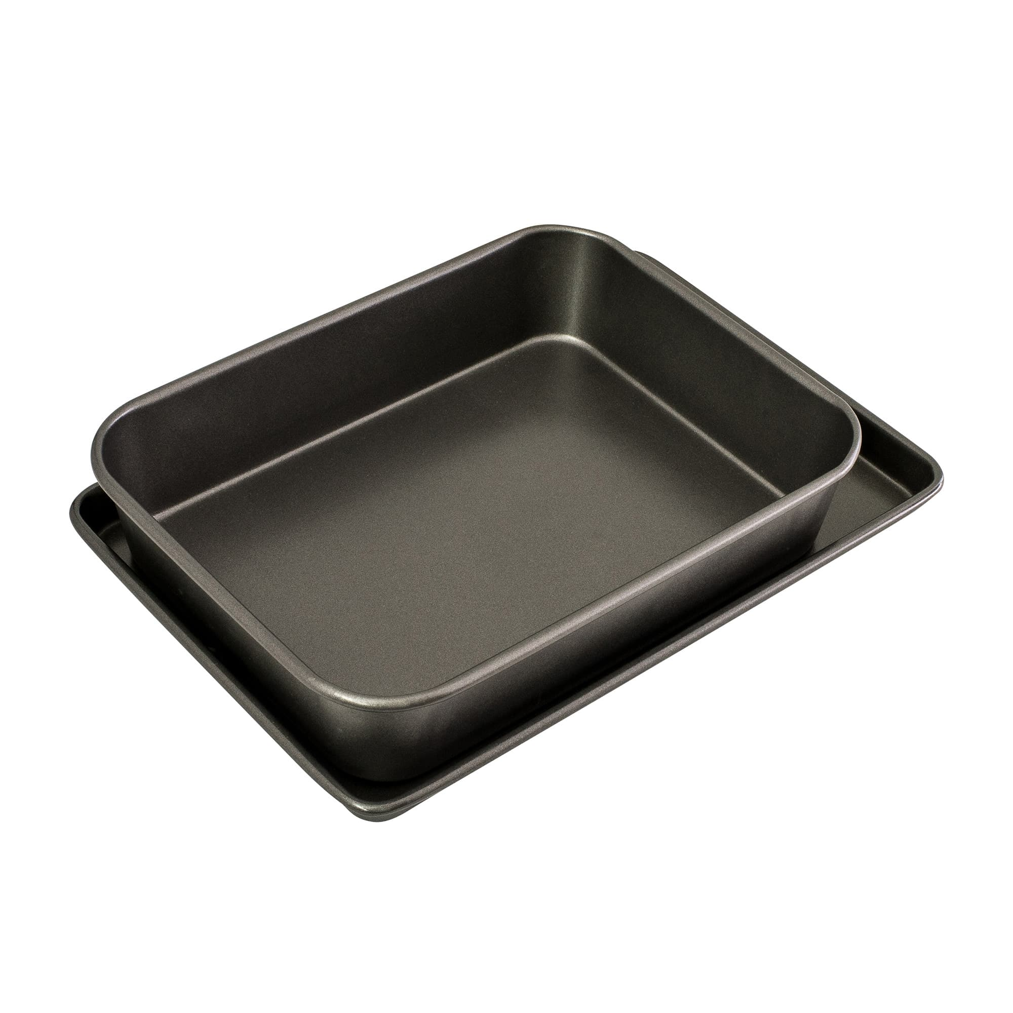 Bakemaster Non Stick Twin Roasting Pan & Oven Tray Pack