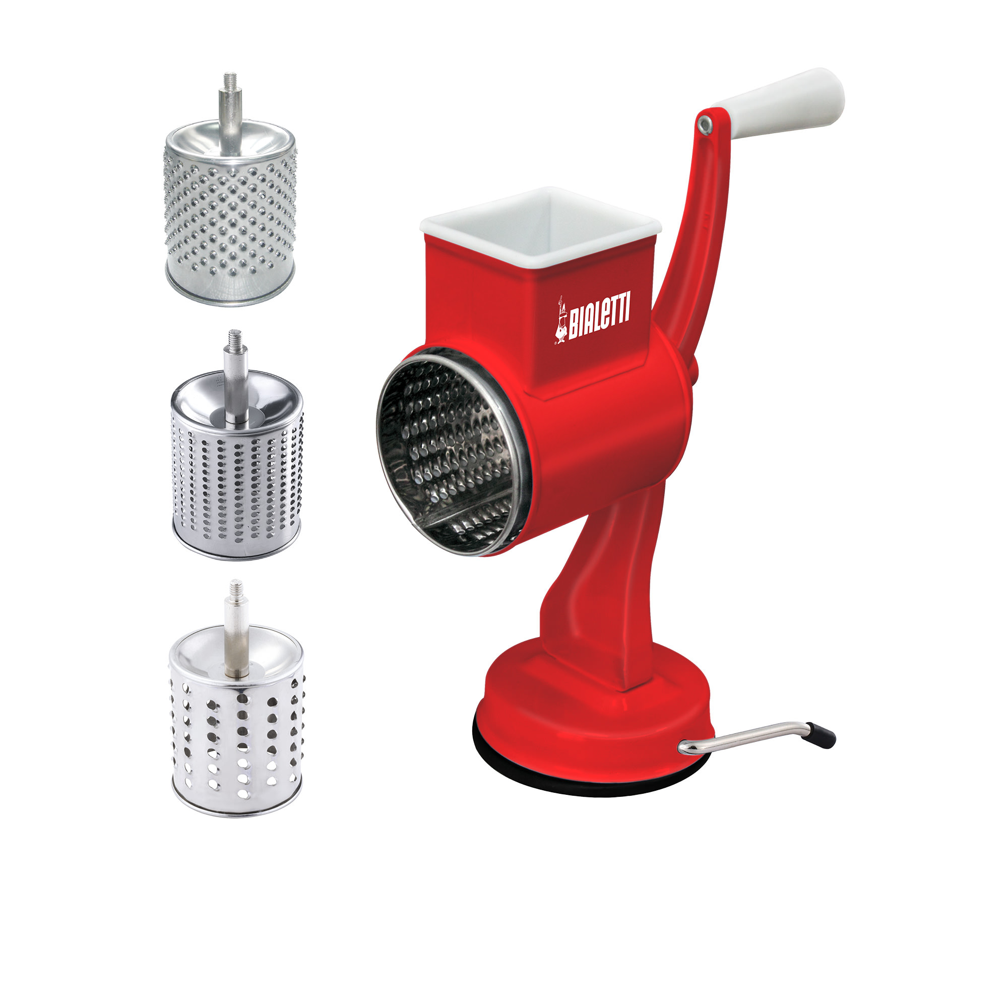 Bialetti 3 Drum Stainless Steel Grater w/ Suction Base Glossy Red