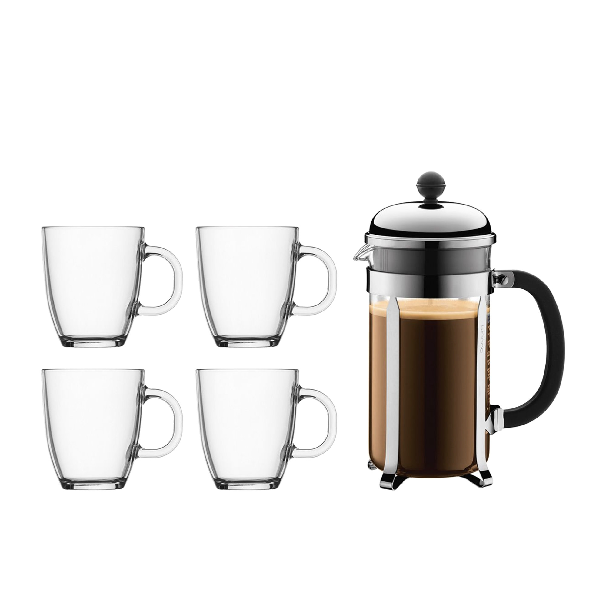 Bodum Chambord Set w/ Coffee Press 8 Cup & 4pc Coffee Mugs