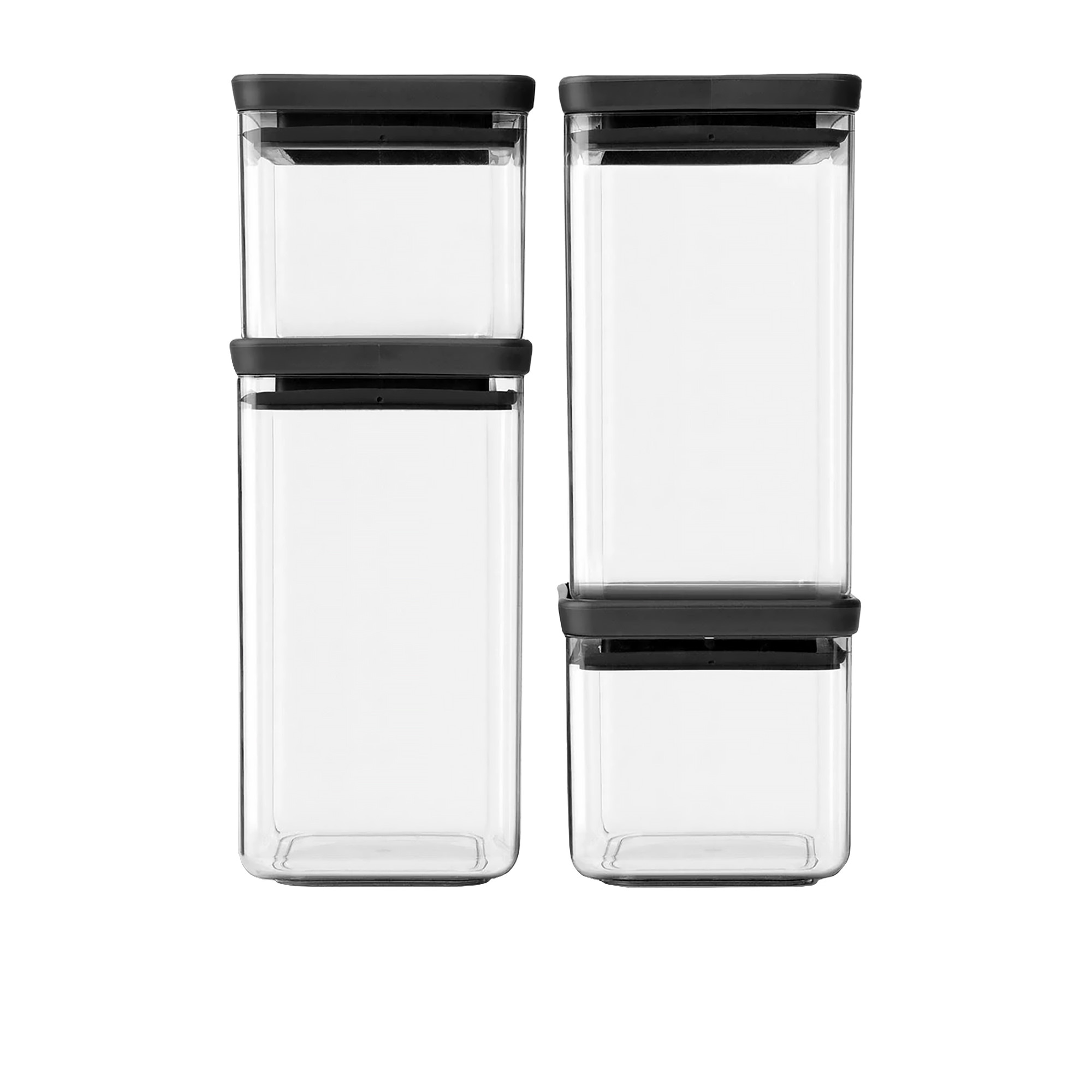 Brabantia Tasty+ 4pc Square Stackable Canister Set w/ Dark Grey Lid