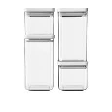 Brabantia Tasty+ 4pc Square Stackable Canister Set w/ Light Grey <b>Lid</b>