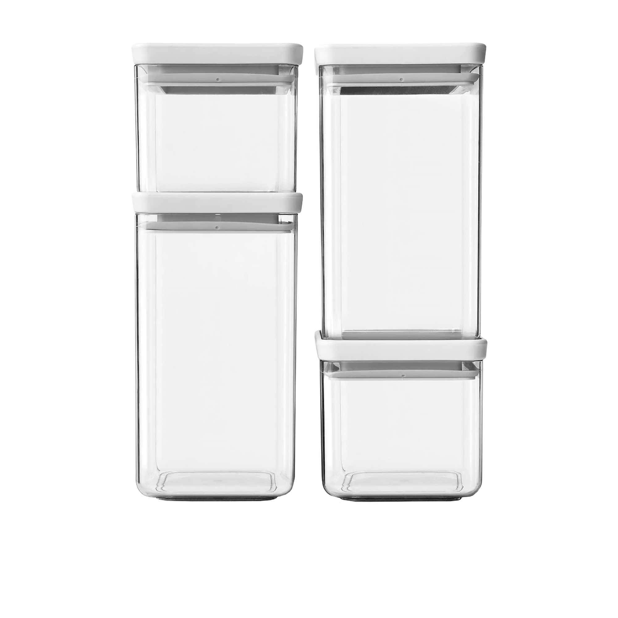 Brabantia Tasty+ 4pc Square Stackable Canister Set w/ Light Grey Lid