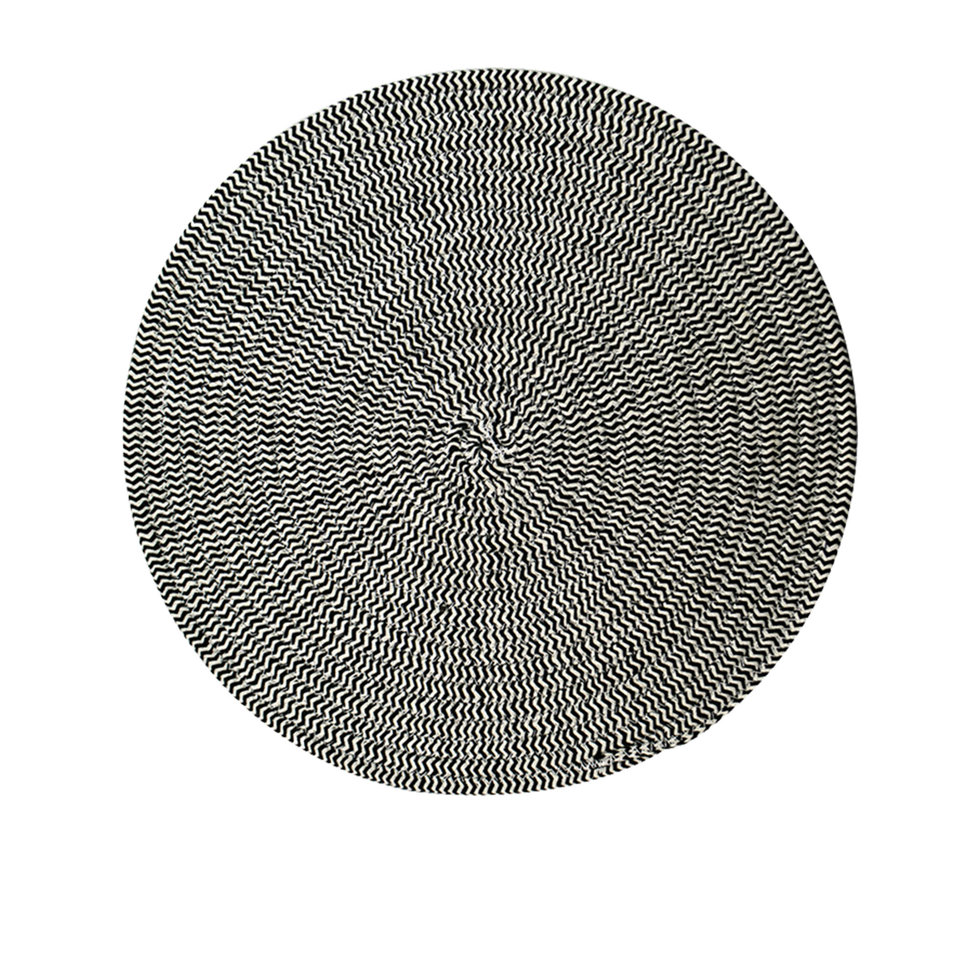 Casa Regalo Round Cotton Placemat 38cm Black & White