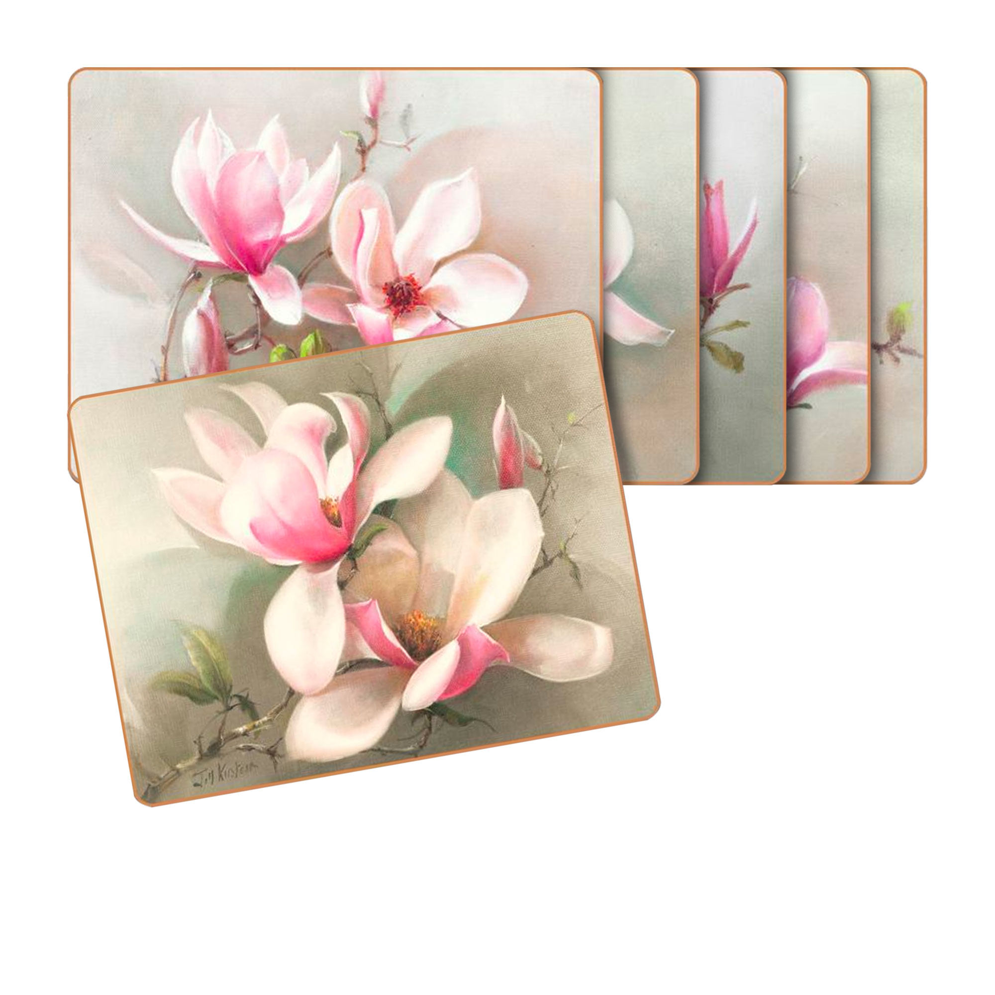 Cinnamon 6pc Magnolias Placemat Set 34x26.5cm