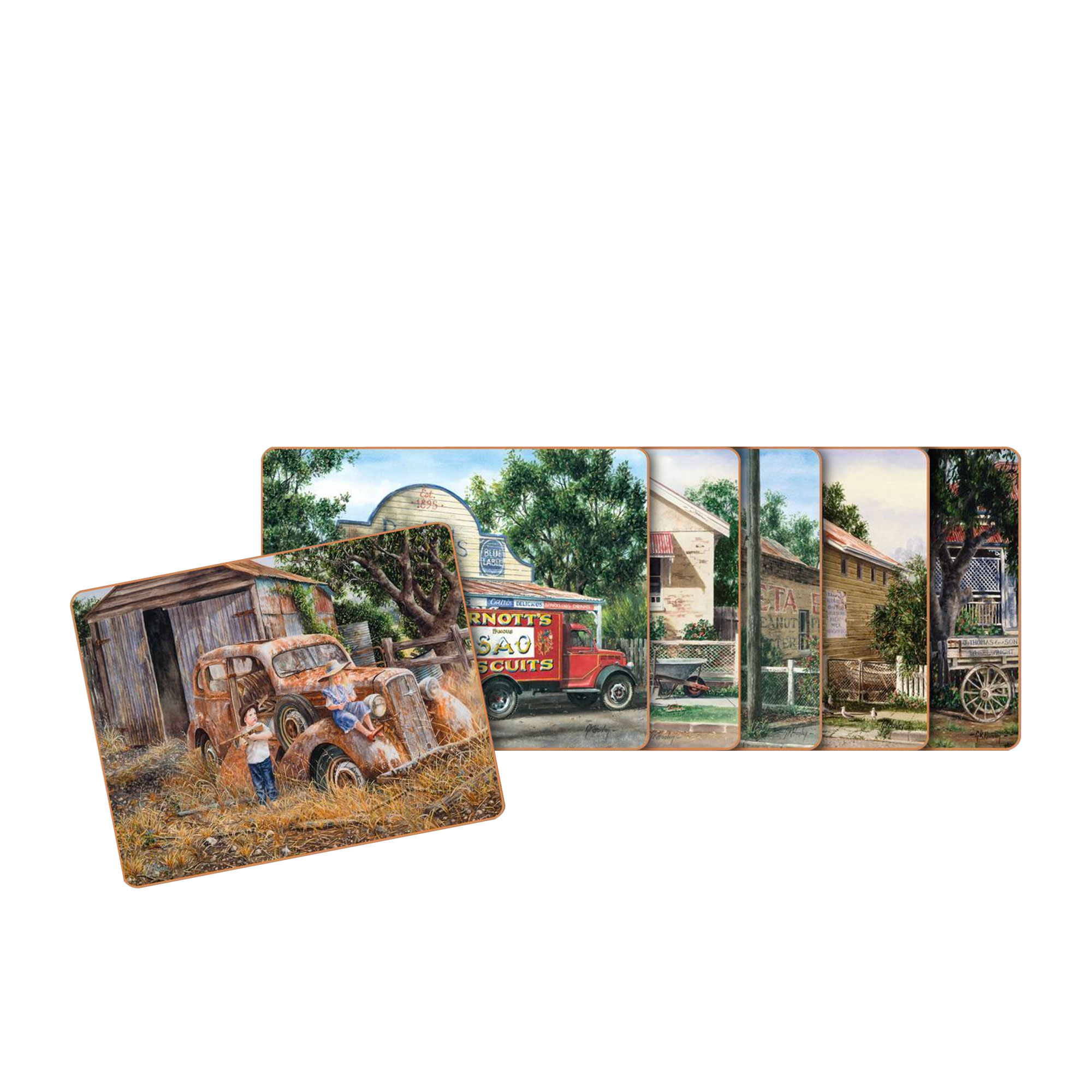 Cinnamon 6pc Times Now Past Coaster Set 11x9.5cm