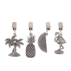 Pewter Tablecloth Weights Tropical Set of 4