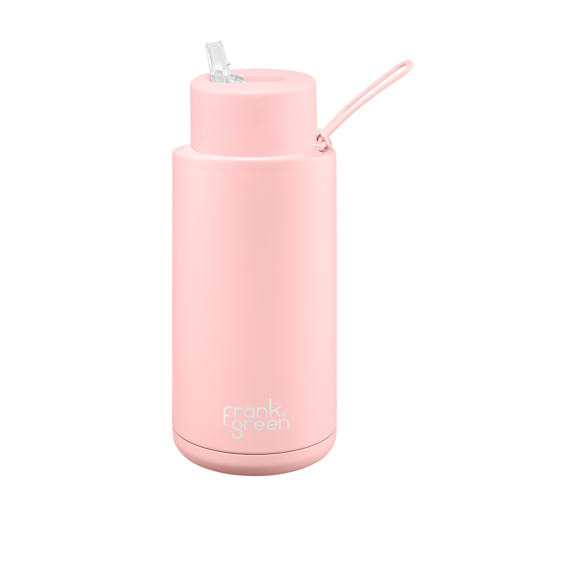 Frank Green Ultimate Ceramic Reusable Bottle with Straw 1L (34oz) Blushed