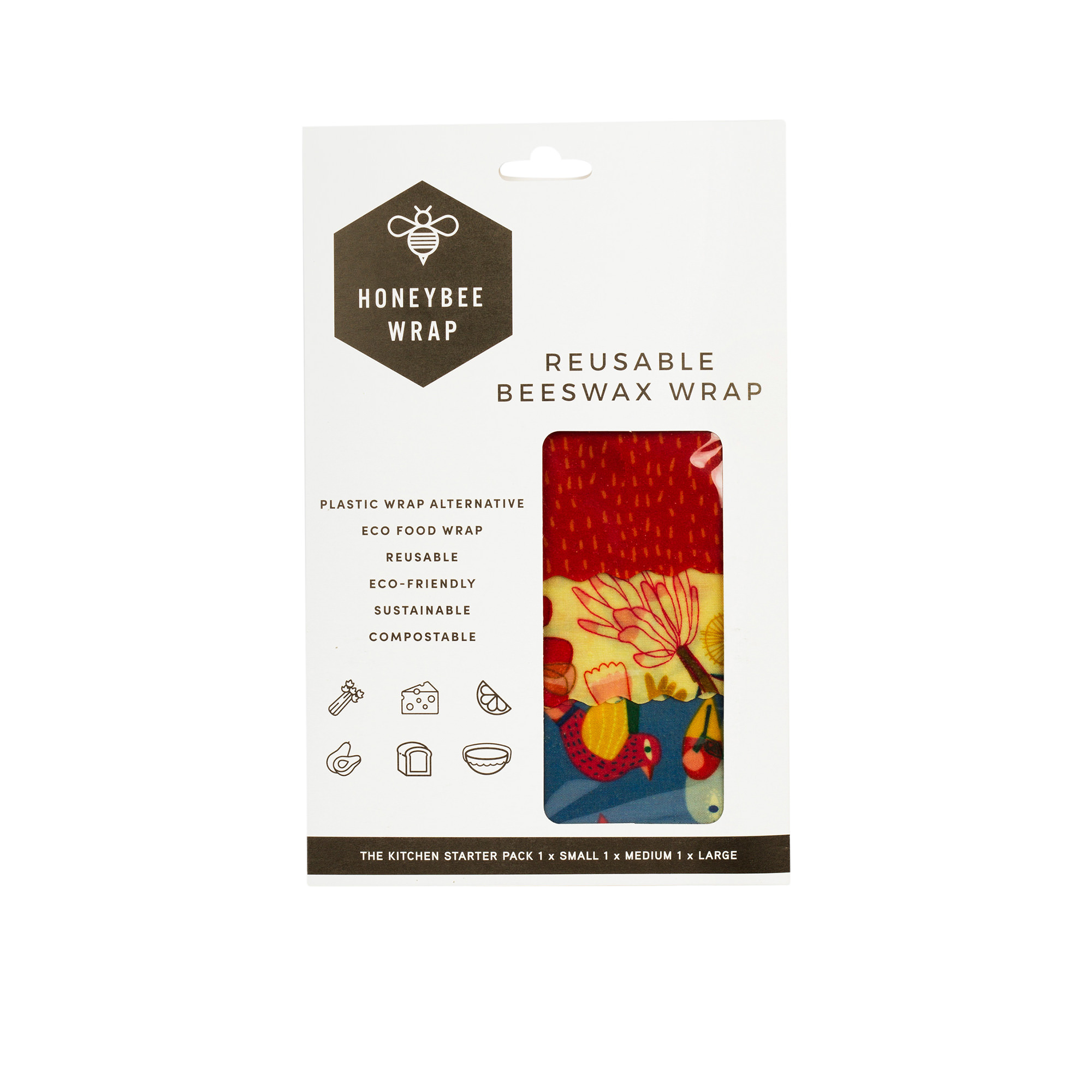 HoneyBee Wrap Reusable Beeswax Wraps 3 Pack