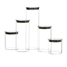 Kitchen <b>Pro</b> Steel 5pc Glass Canister Set w/ Steel Lid