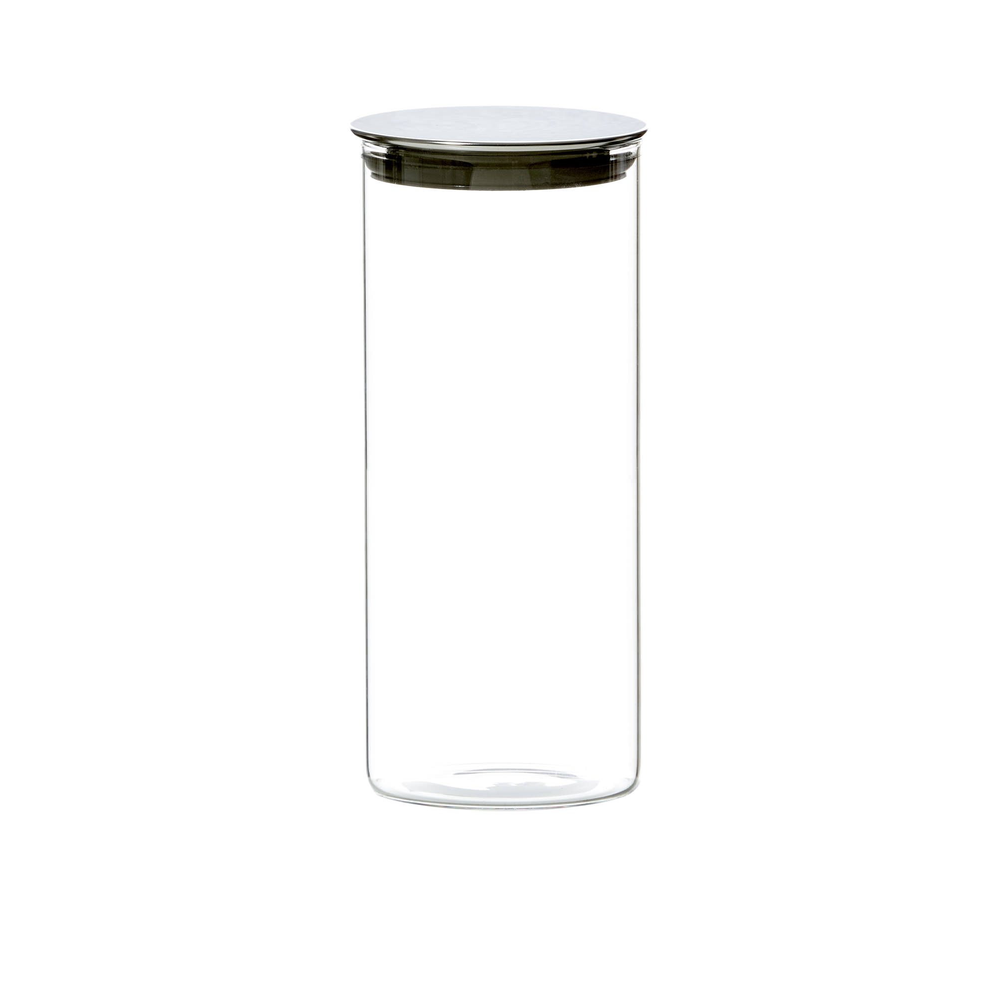 Kitchen Pro Steel Glass Canister 1.3L w/ Steel Lid