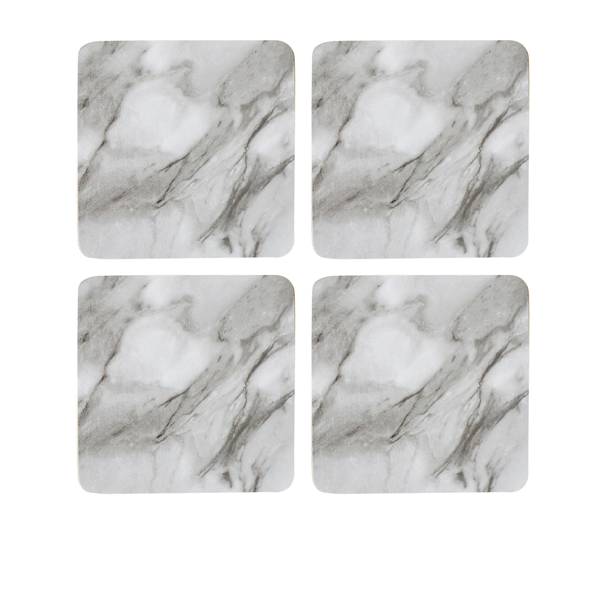 Kitchen Warehouse Marblesque Square Coaster Set of 4 White