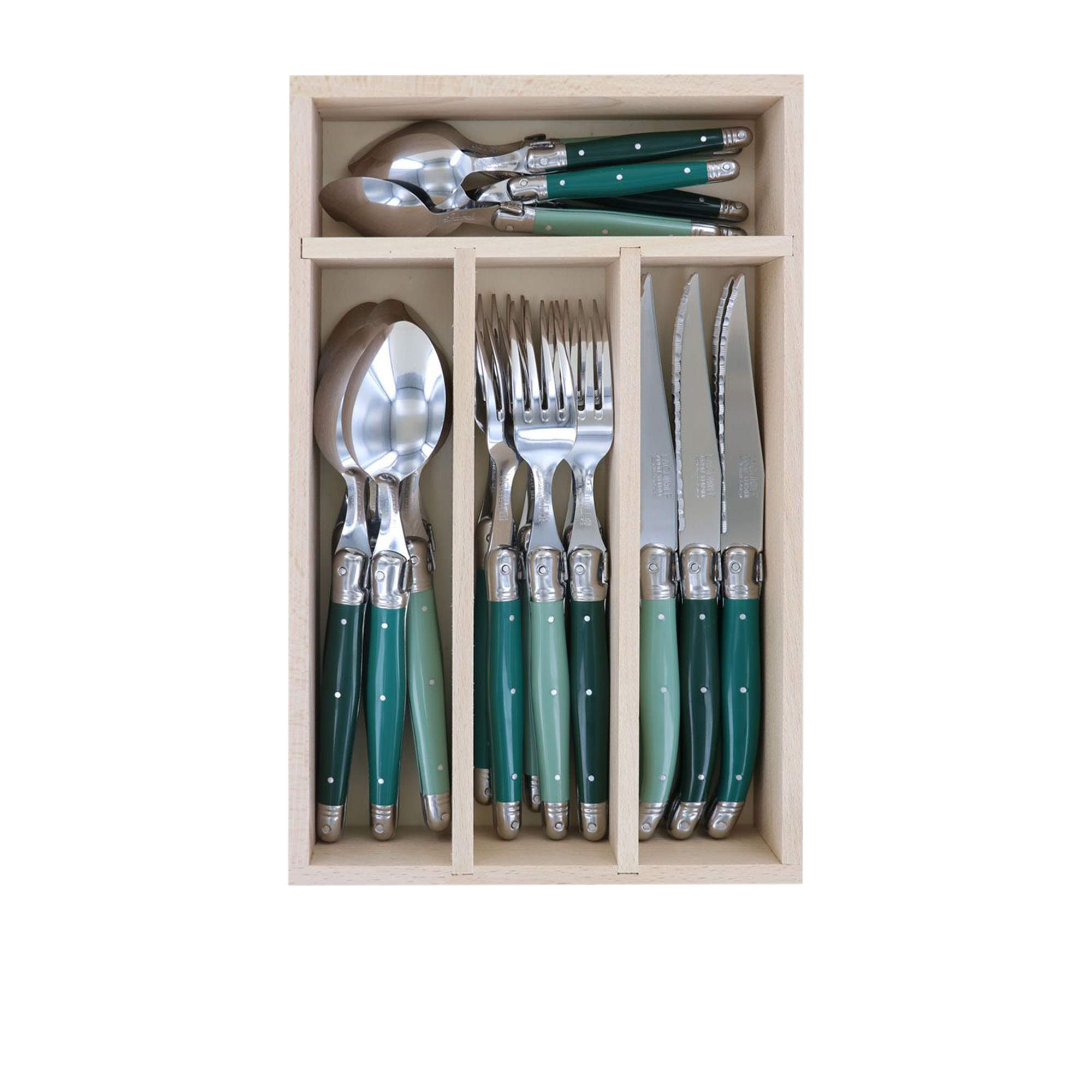Laguiole by Andre Verdier Debutant 24pc Cutlery Set Forest Green/Green/Sage