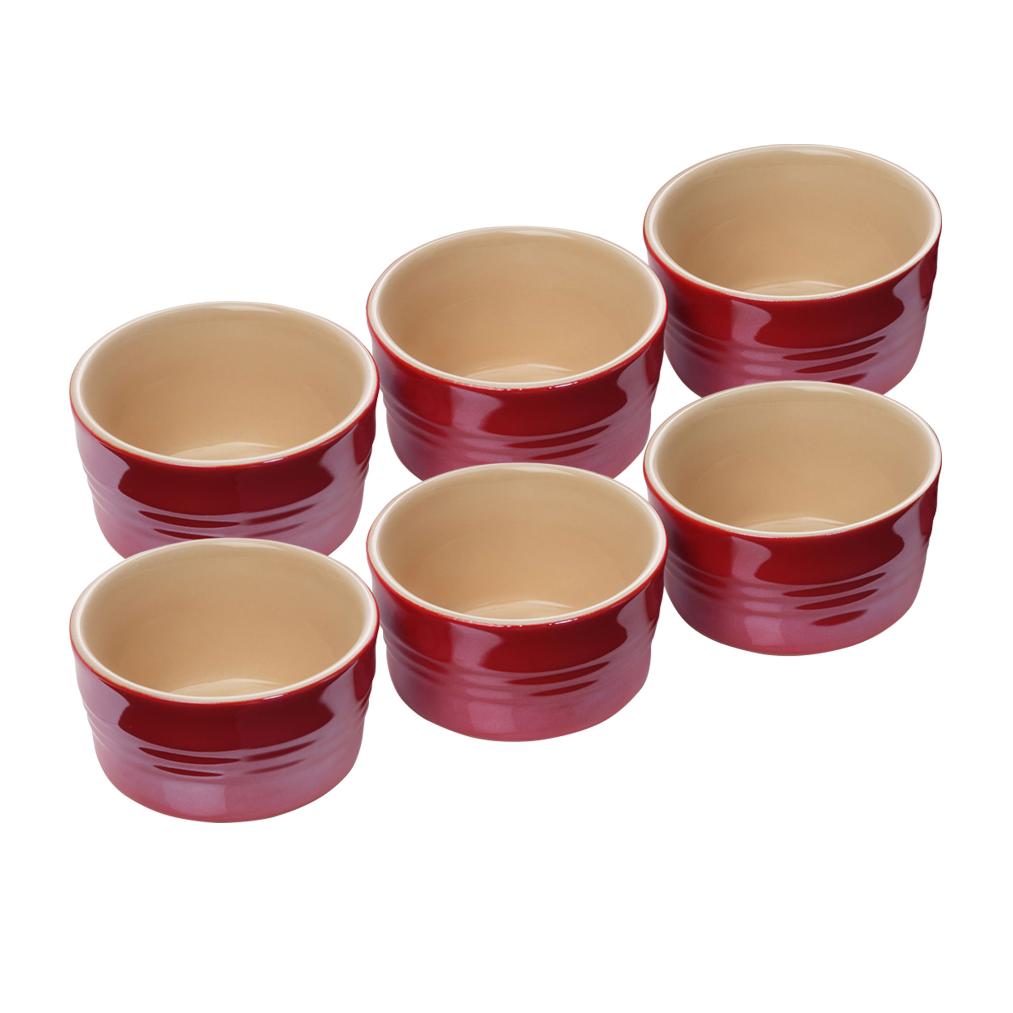 Le Creuset Stoneware 6pc Mini Ramekin Set Metallic Light Cerise