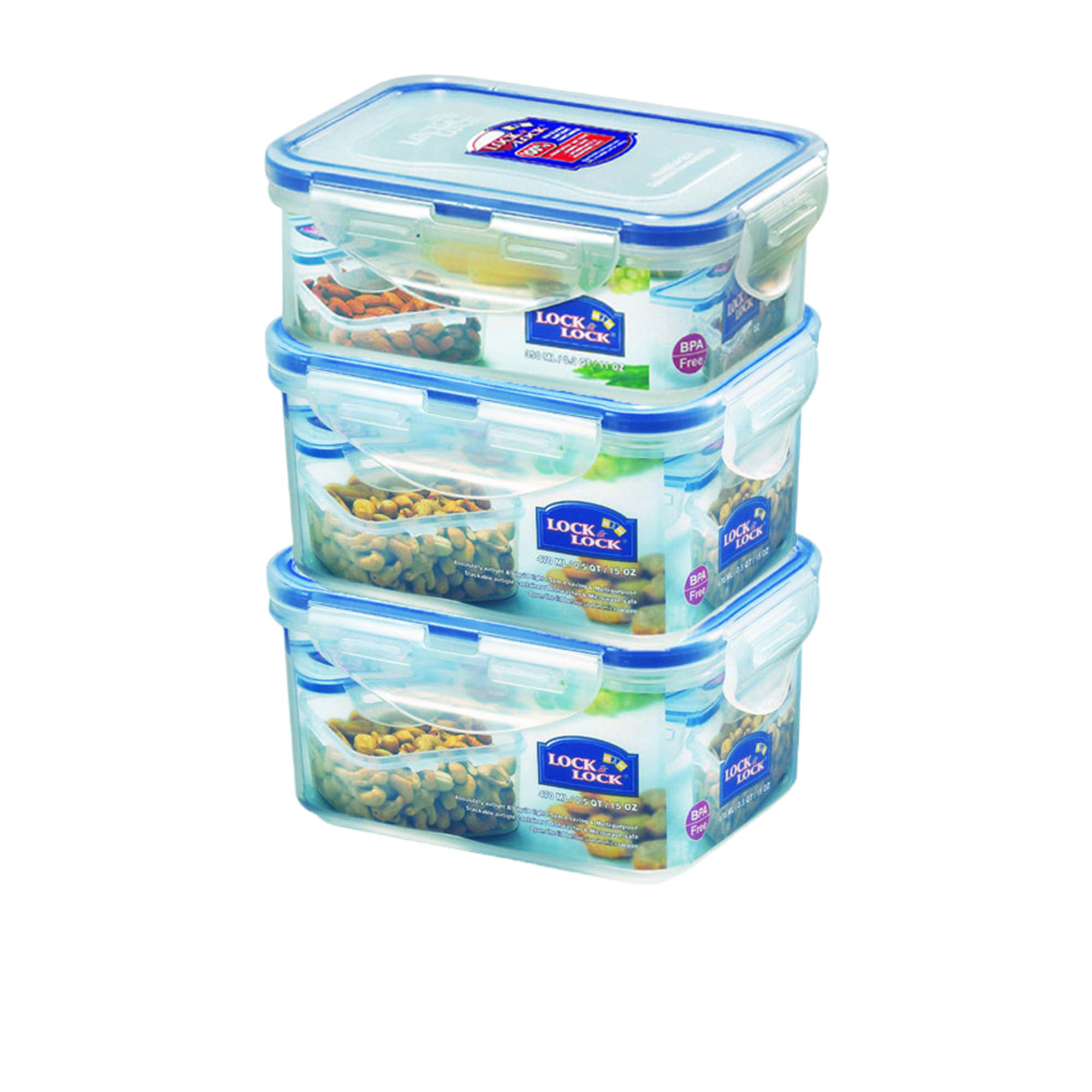 Lock & Lock Classic 3pc Rectangular Food Container Set 470ml