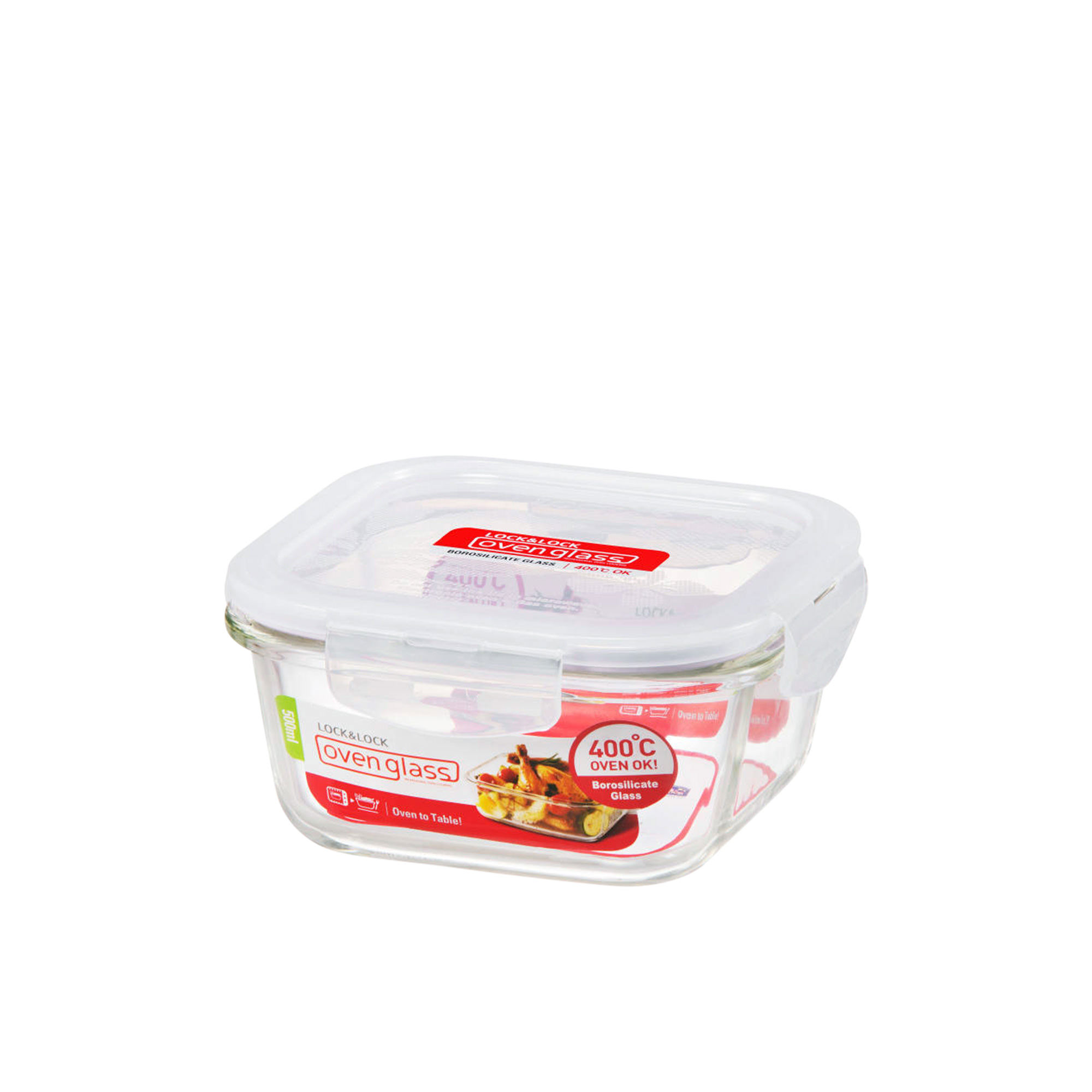 Lock & Lock Glass Square Container 500ml