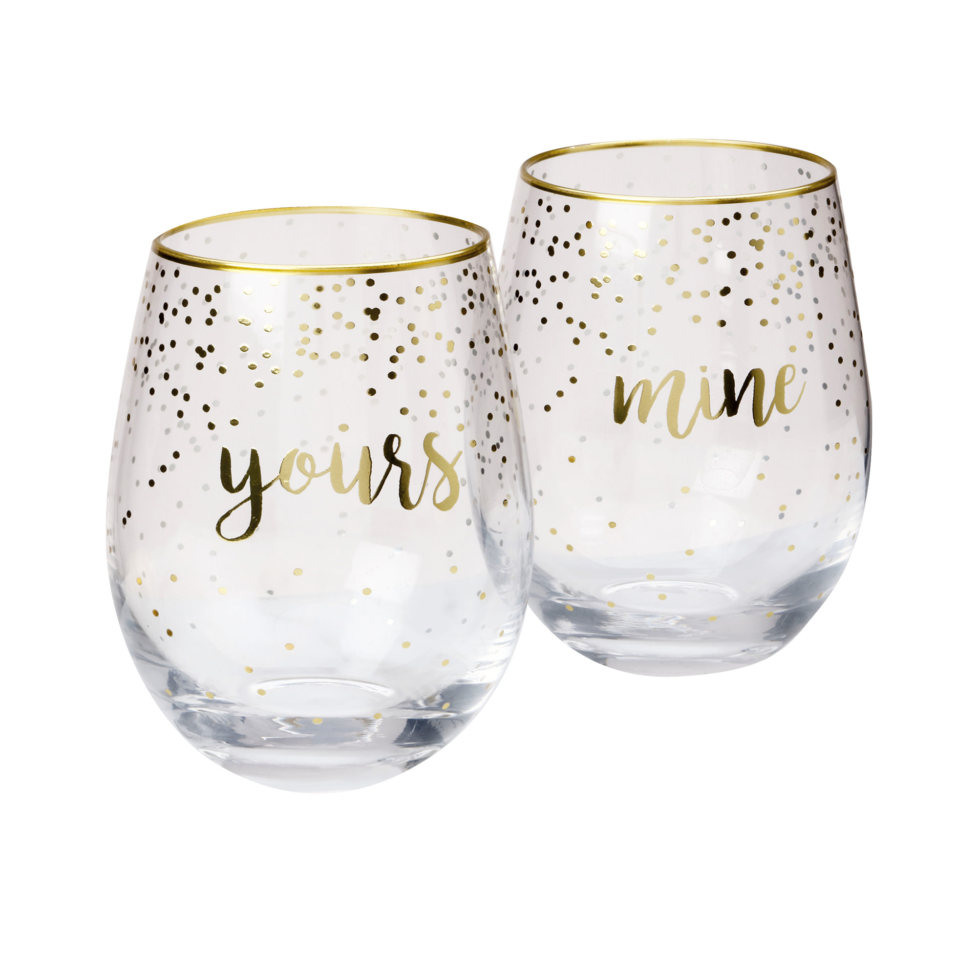 Maxwell & Williams Celebrations 2pc Stemless Glass Set 500ml Mine Yours