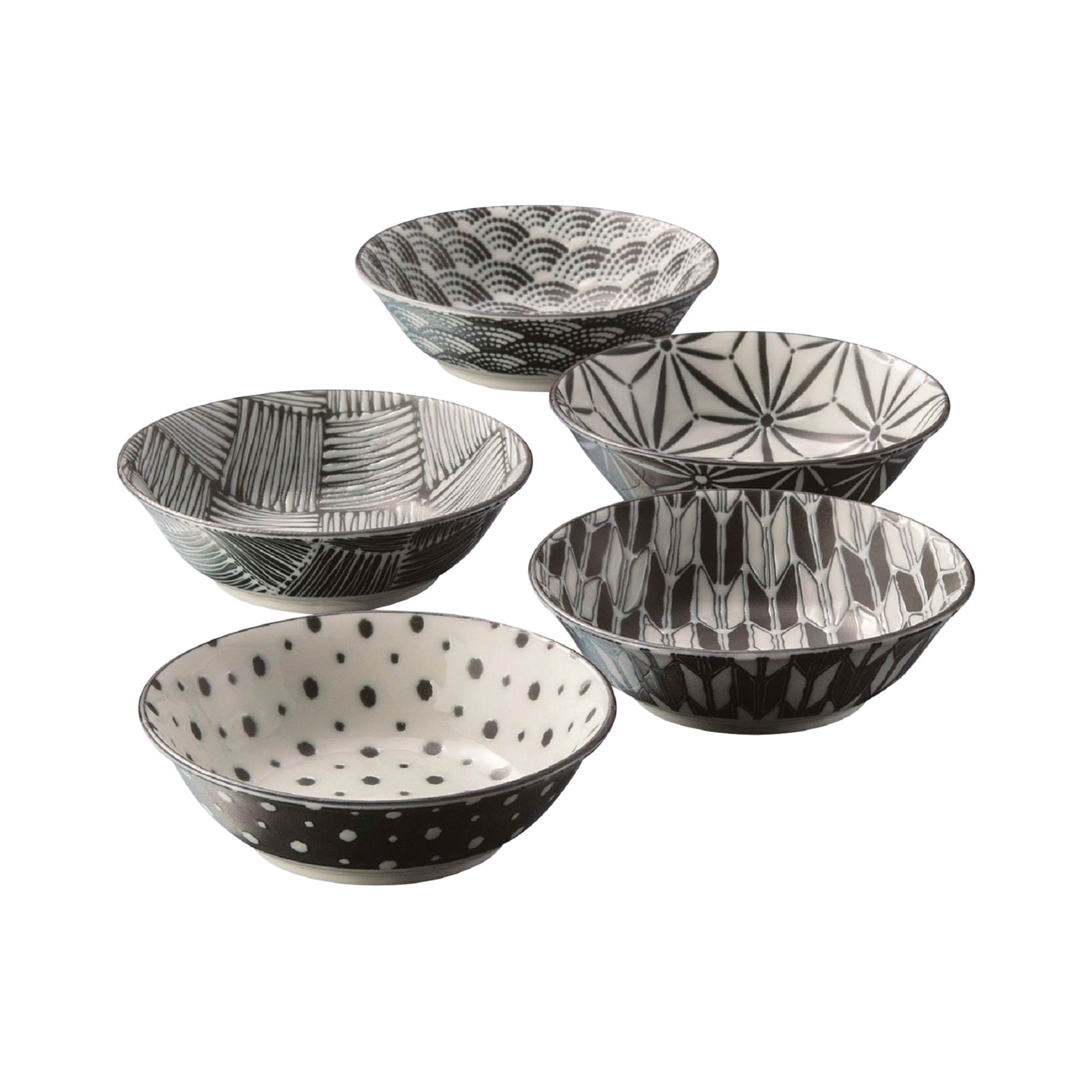 Noritake Komon Japanese Porcelain 5pc Bowl Set 13.5cm Black