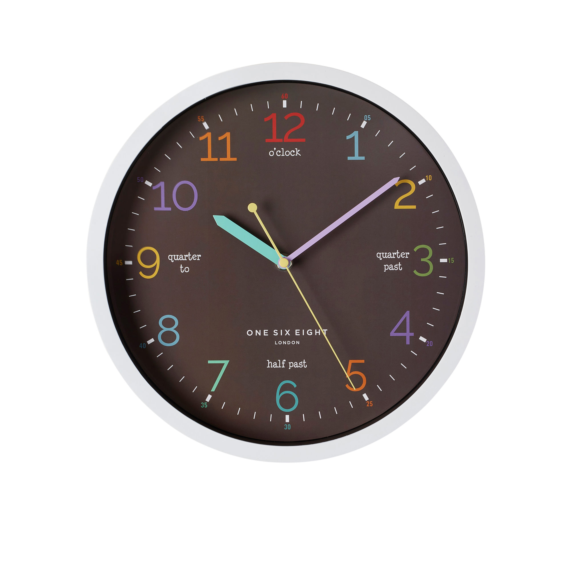One Six Eight London Learn The Time Silent Wall Clock 30cm Black
