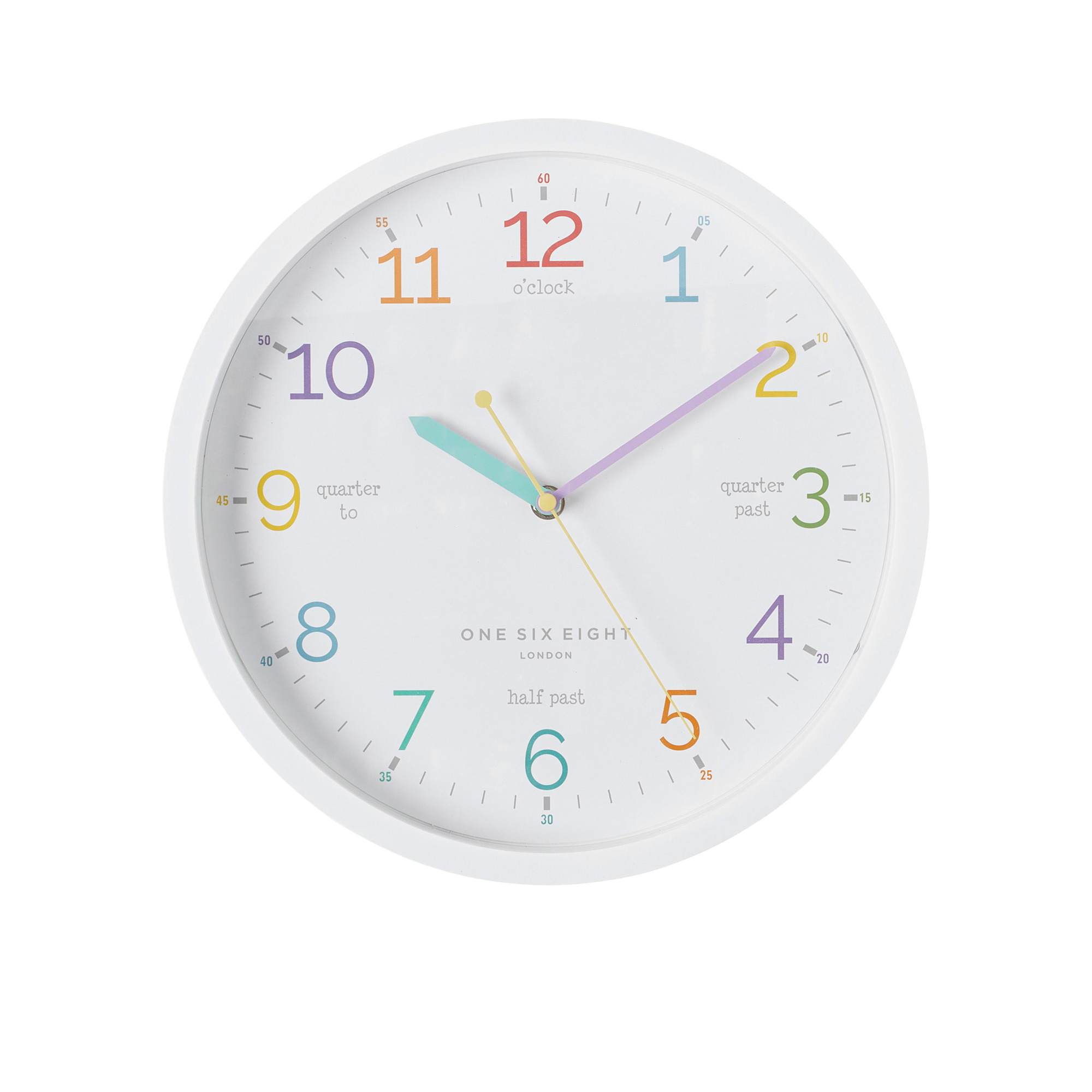 One Six Eight London Learn The Time Silent Wall Clock 30cm White
