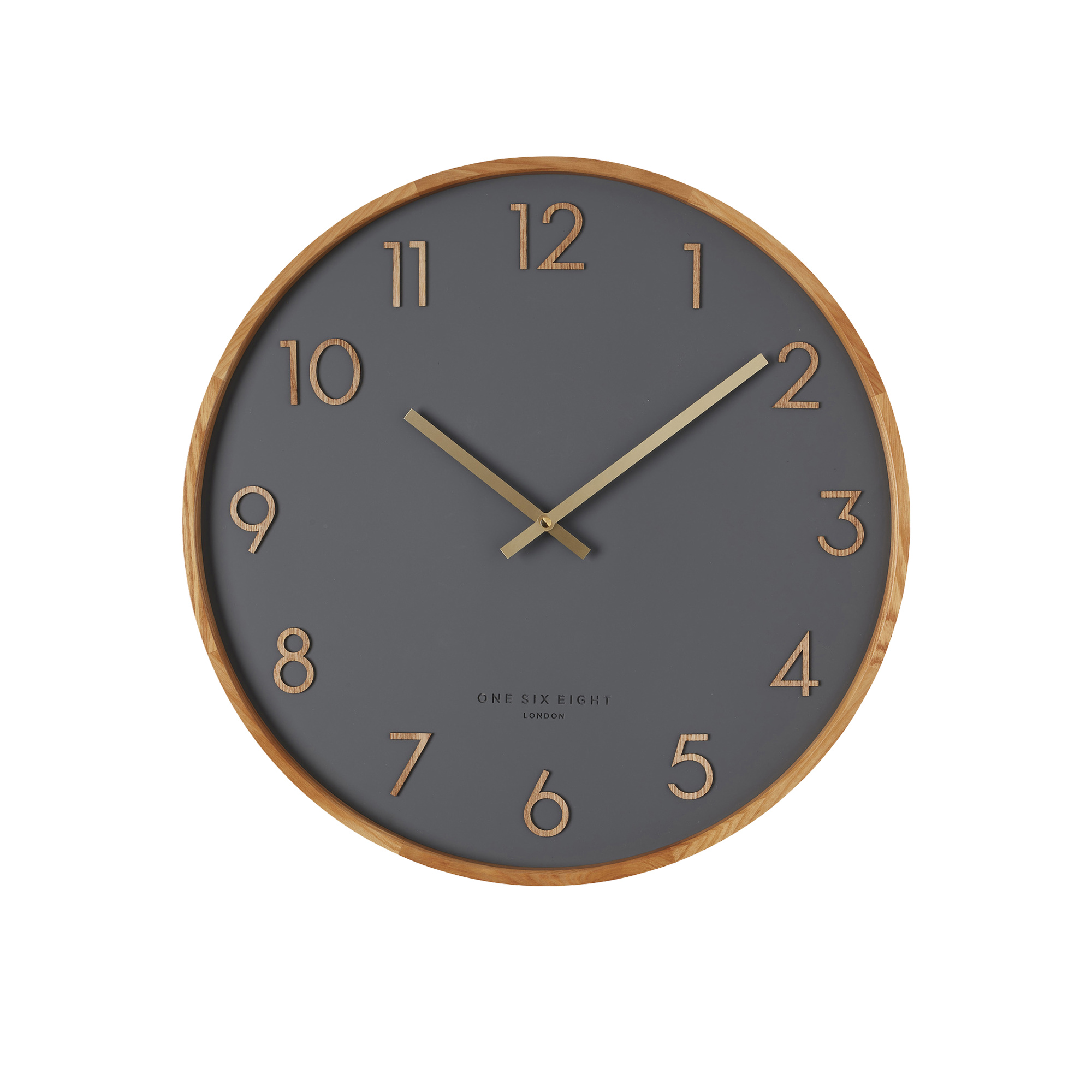 One Six Eight London Scarlett Silent Wall Clock 35cm Charcoal