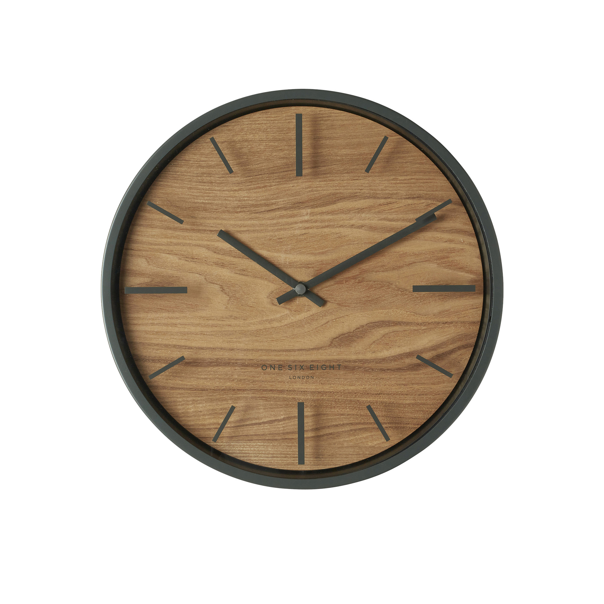 One Six Eight London Willow Silent Wall Clock 30cm Charcoal Grey