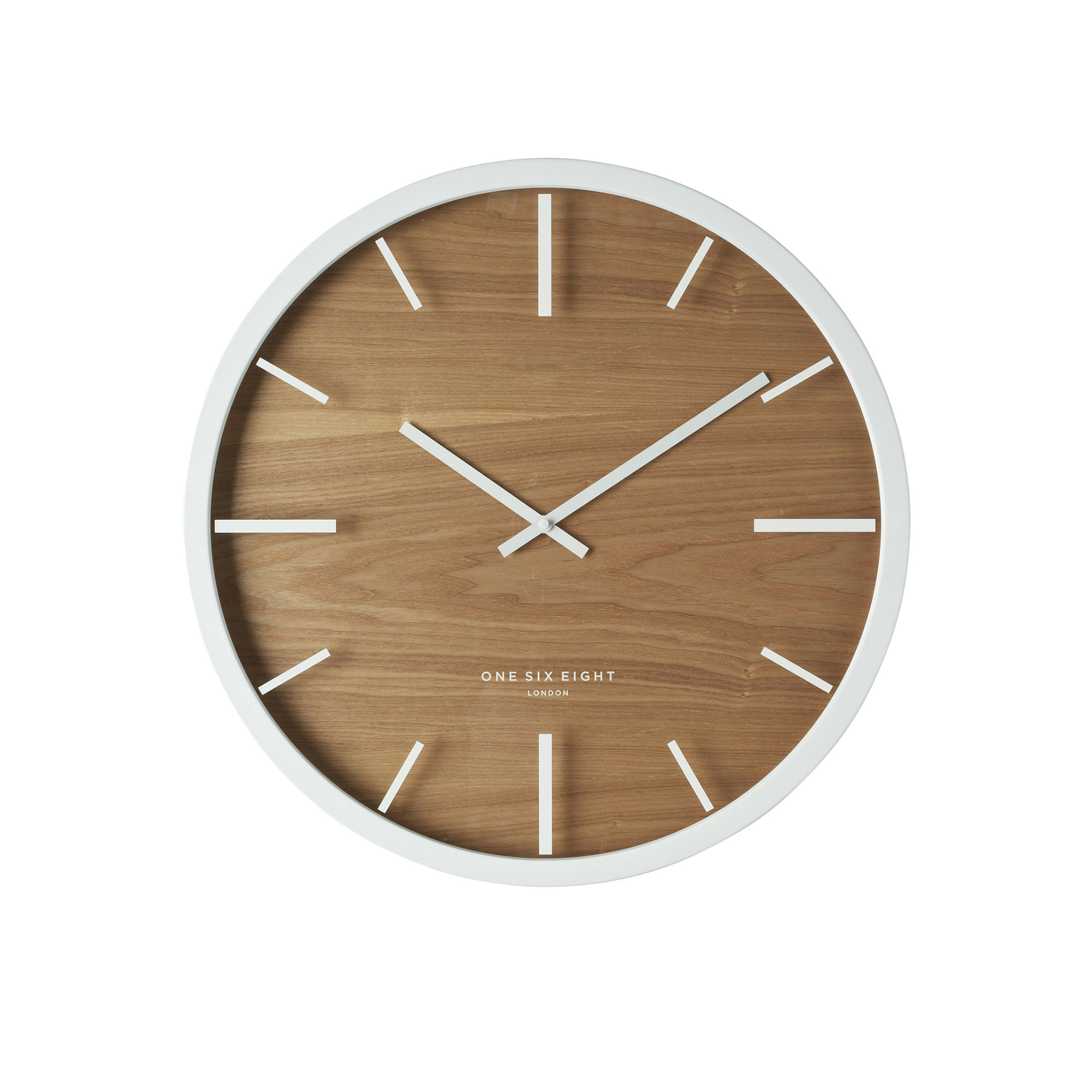 One Six Eight London Willow Silent Wall Clock 30cm White
