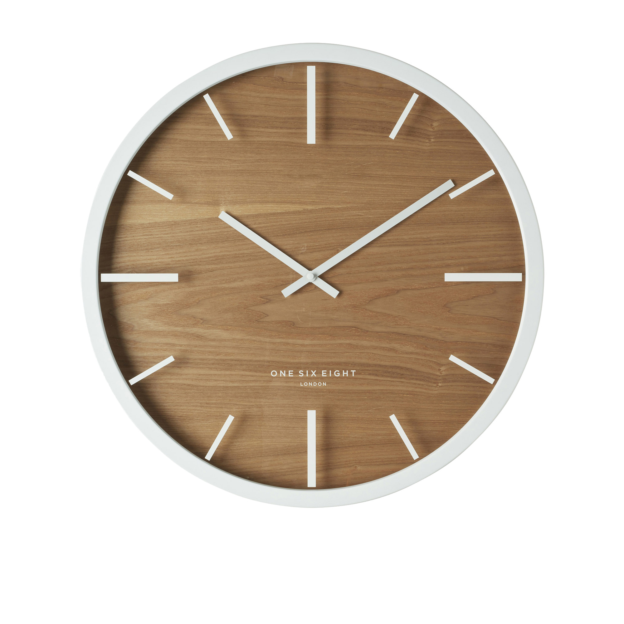 One Six Eight London Willow Silent Wall Clock 50cm White