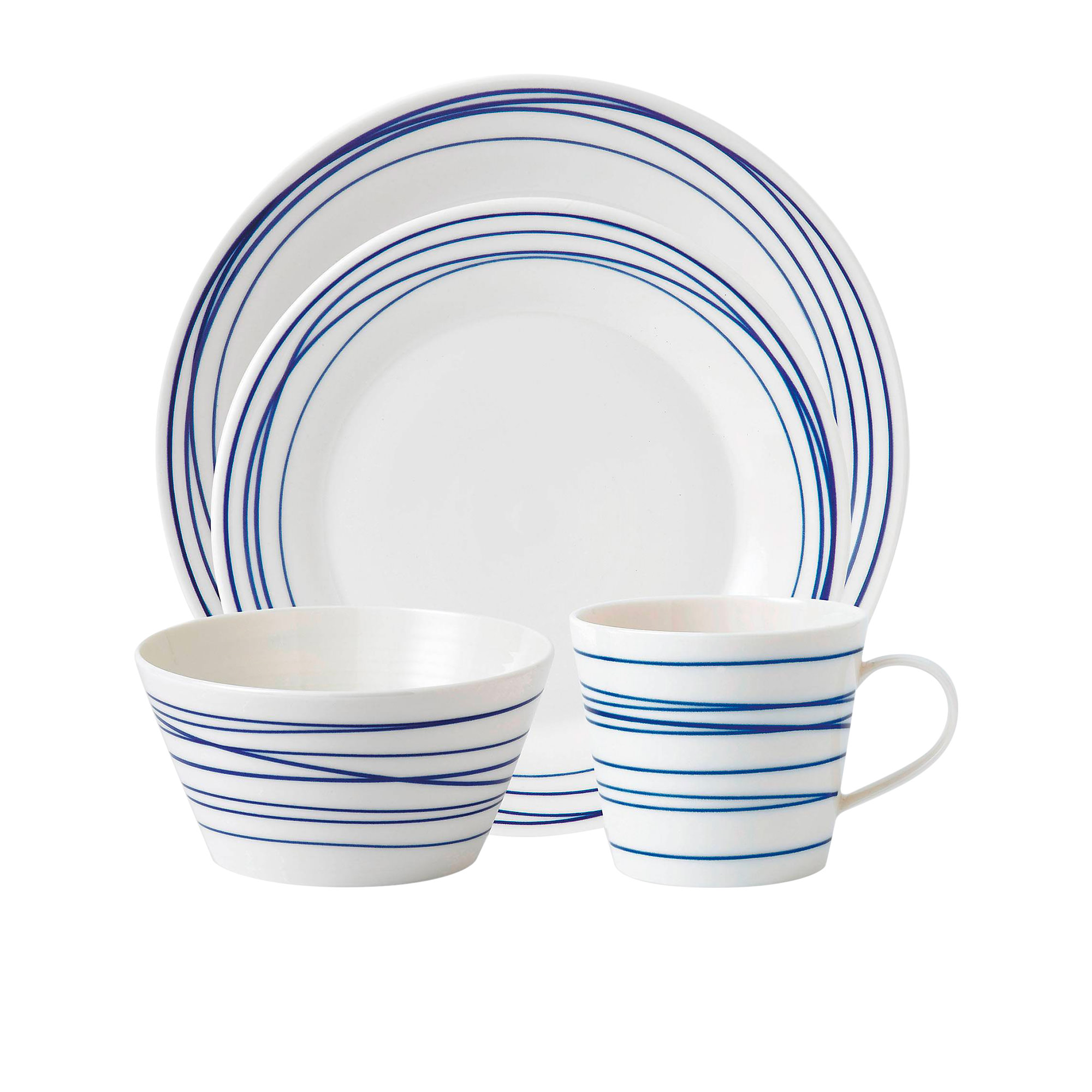 Royal Doulton Pacific Lines 16pc Dinner Set Blue