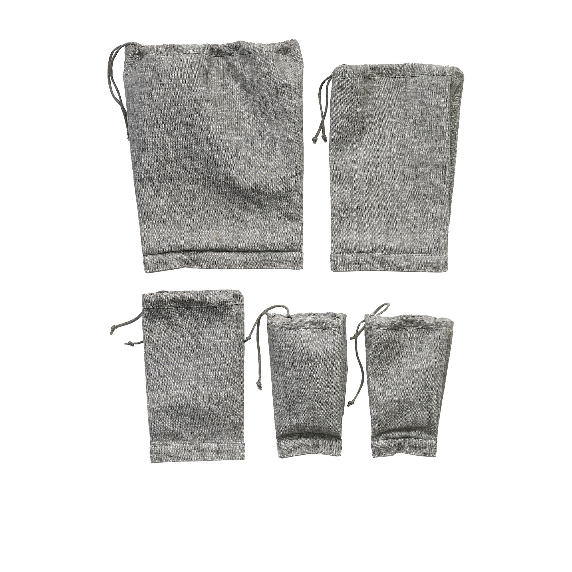 Salisbury & Co Essentials 5pc Cotton Produce Bags Large Charcoal