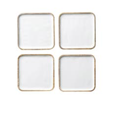Salisbury & Co Graze 4pc Mango Wood Coaster Set 10cm <b>White</b>