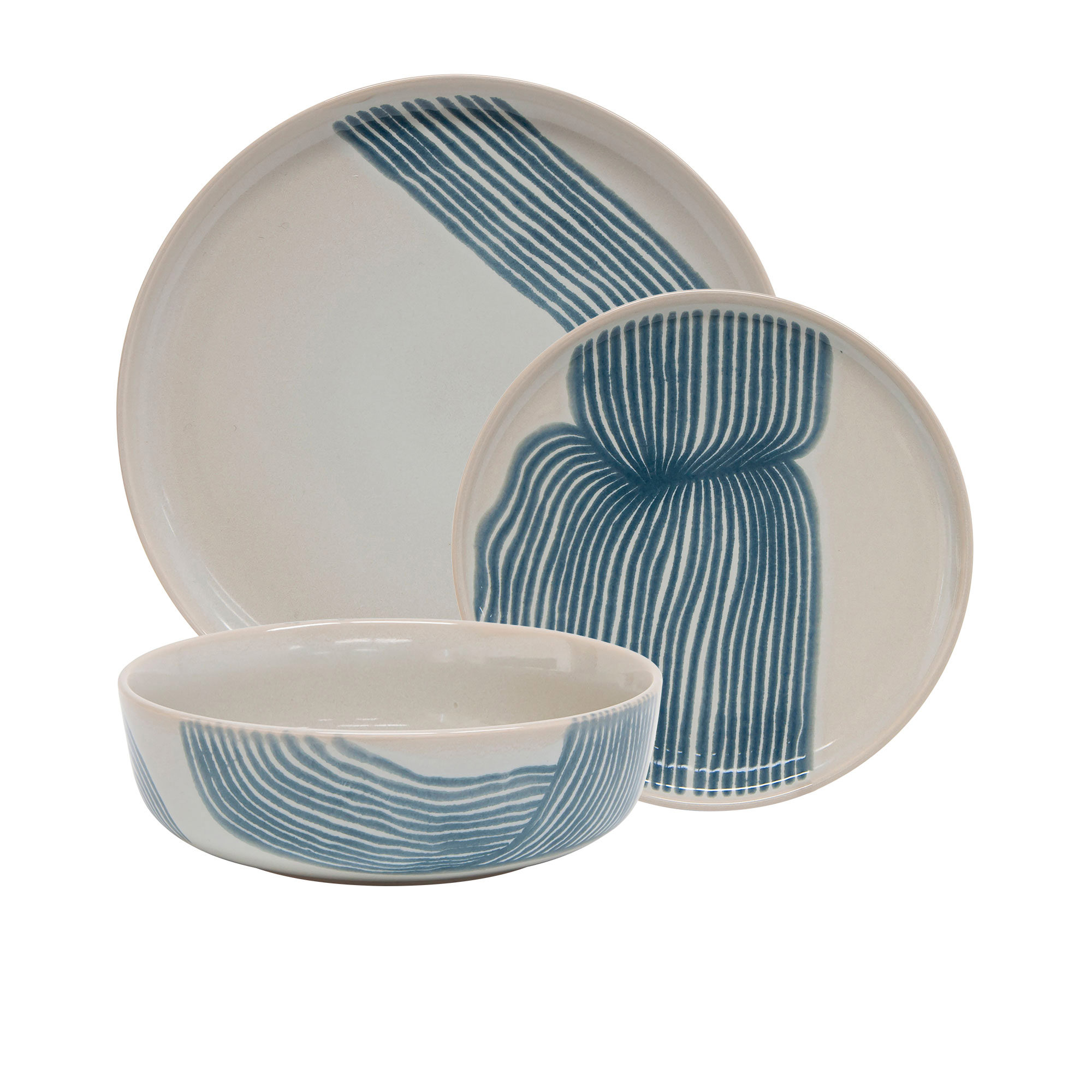 Salt & Pepper Sketch 12pc Dinner Set Blue