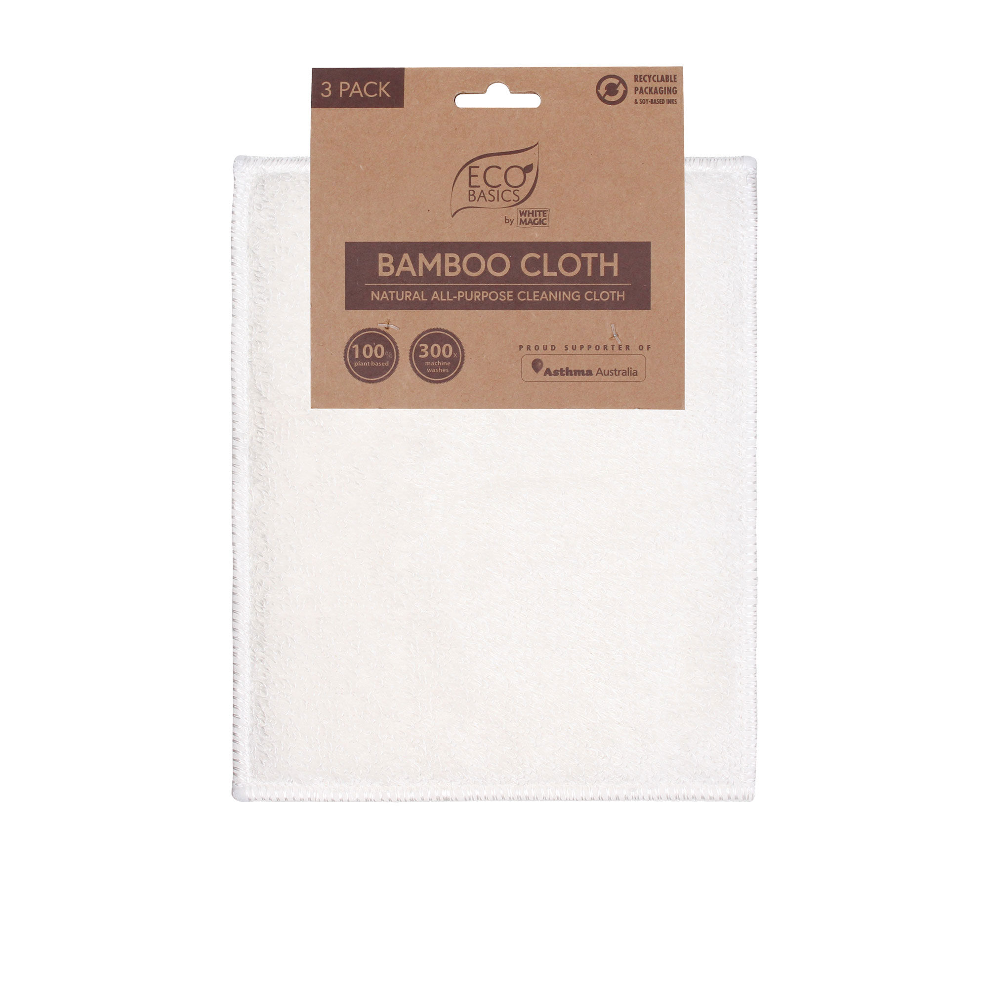 White Magic Eco Basics 3pk Bamboo Cloth 18x23cm White