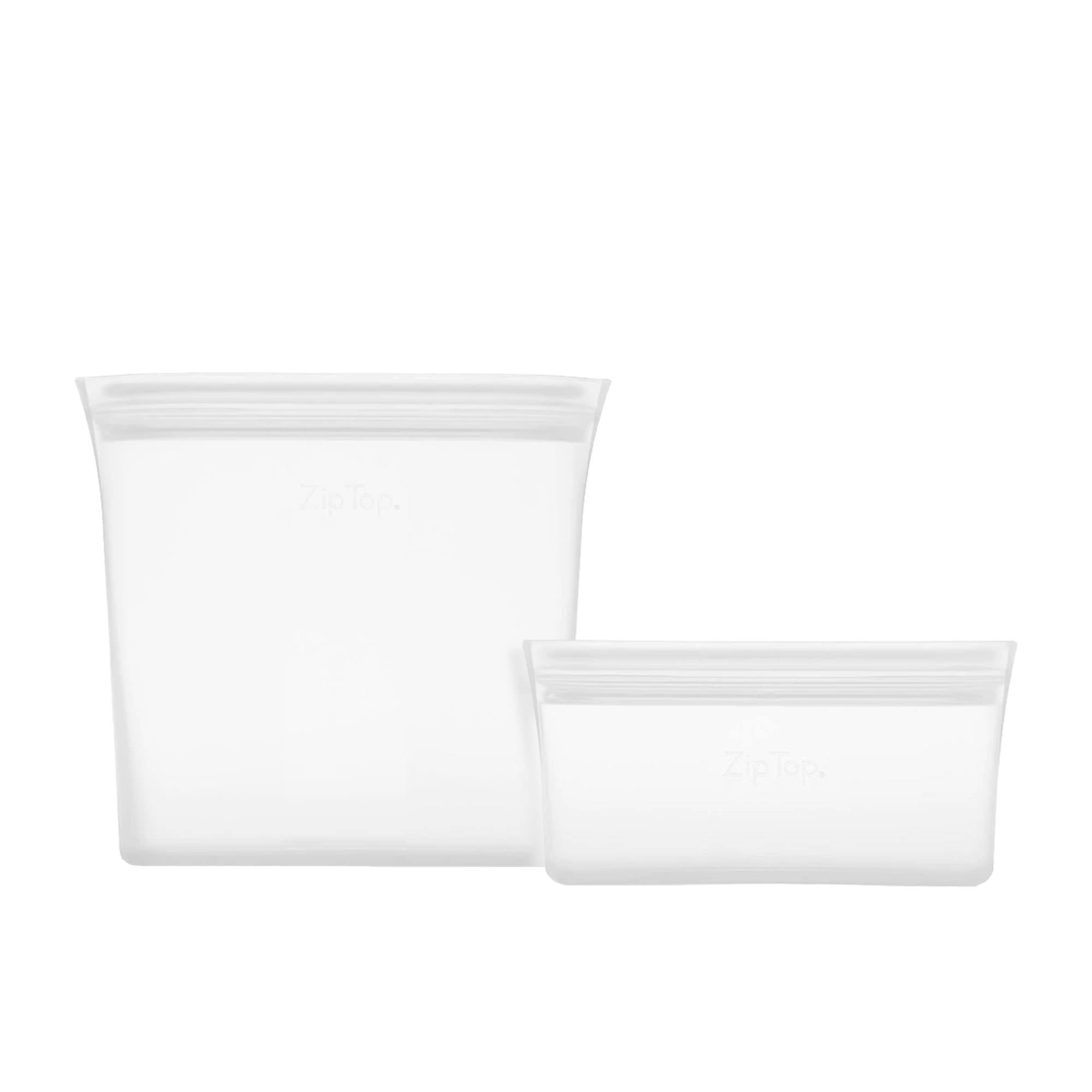 Zip Top 2pc Platinum Silicone Bag Set Clear
