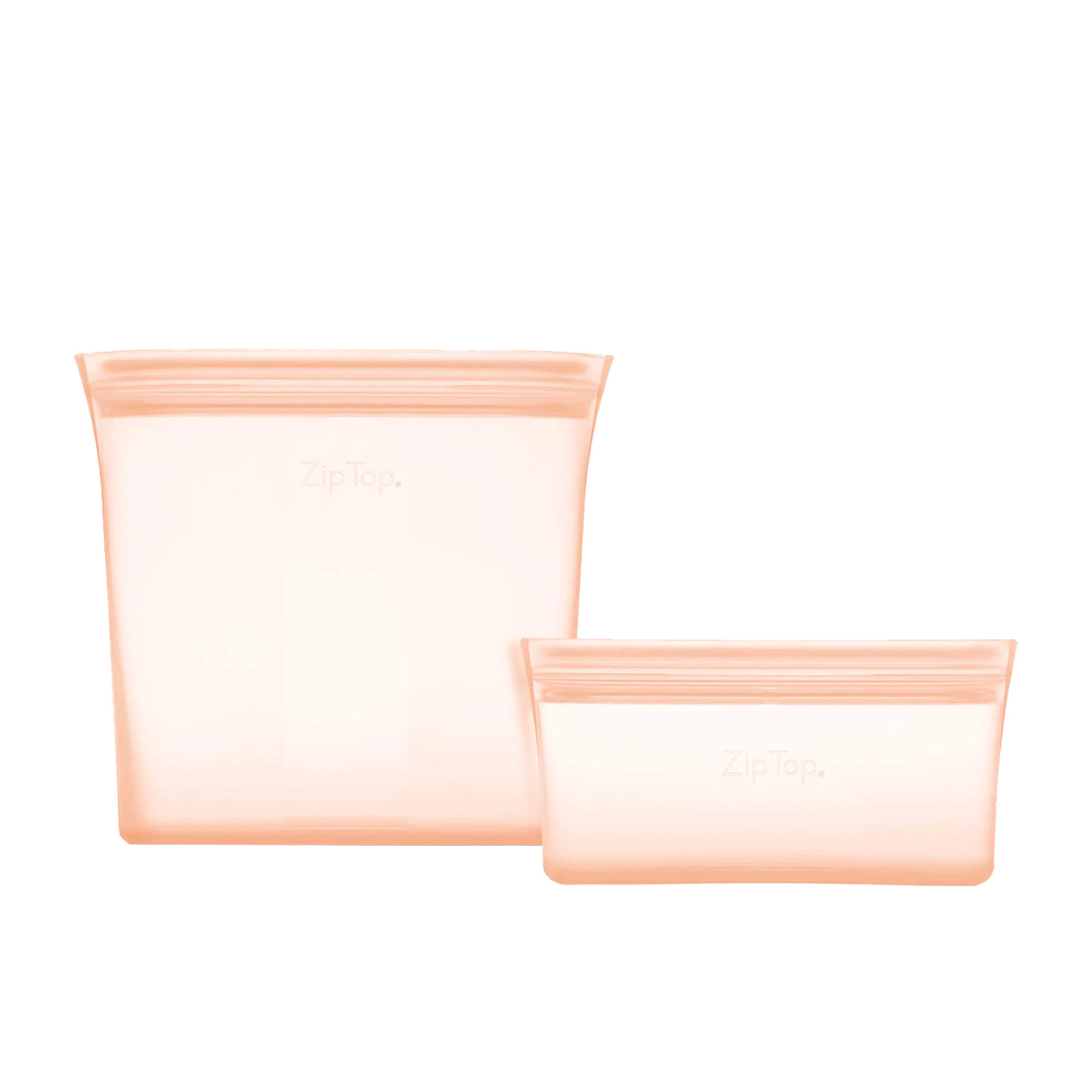 Zip Top 2pc Platinum Silicone Bag Set Peach