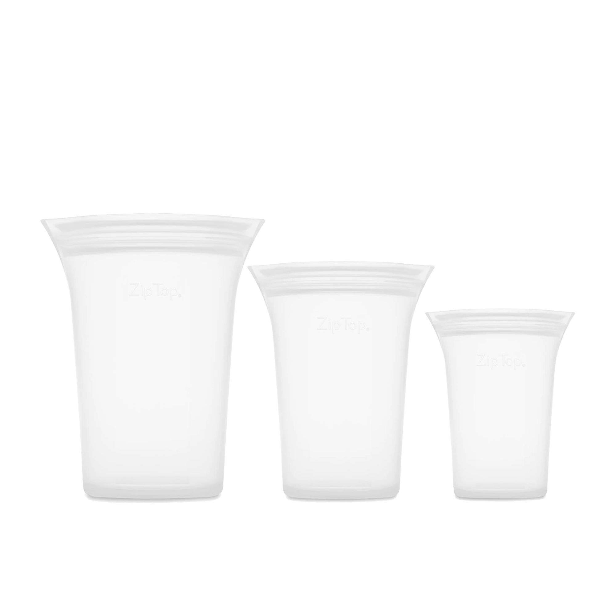 Zip Top 3pc Platinum Silicone Cup Container Set Clear