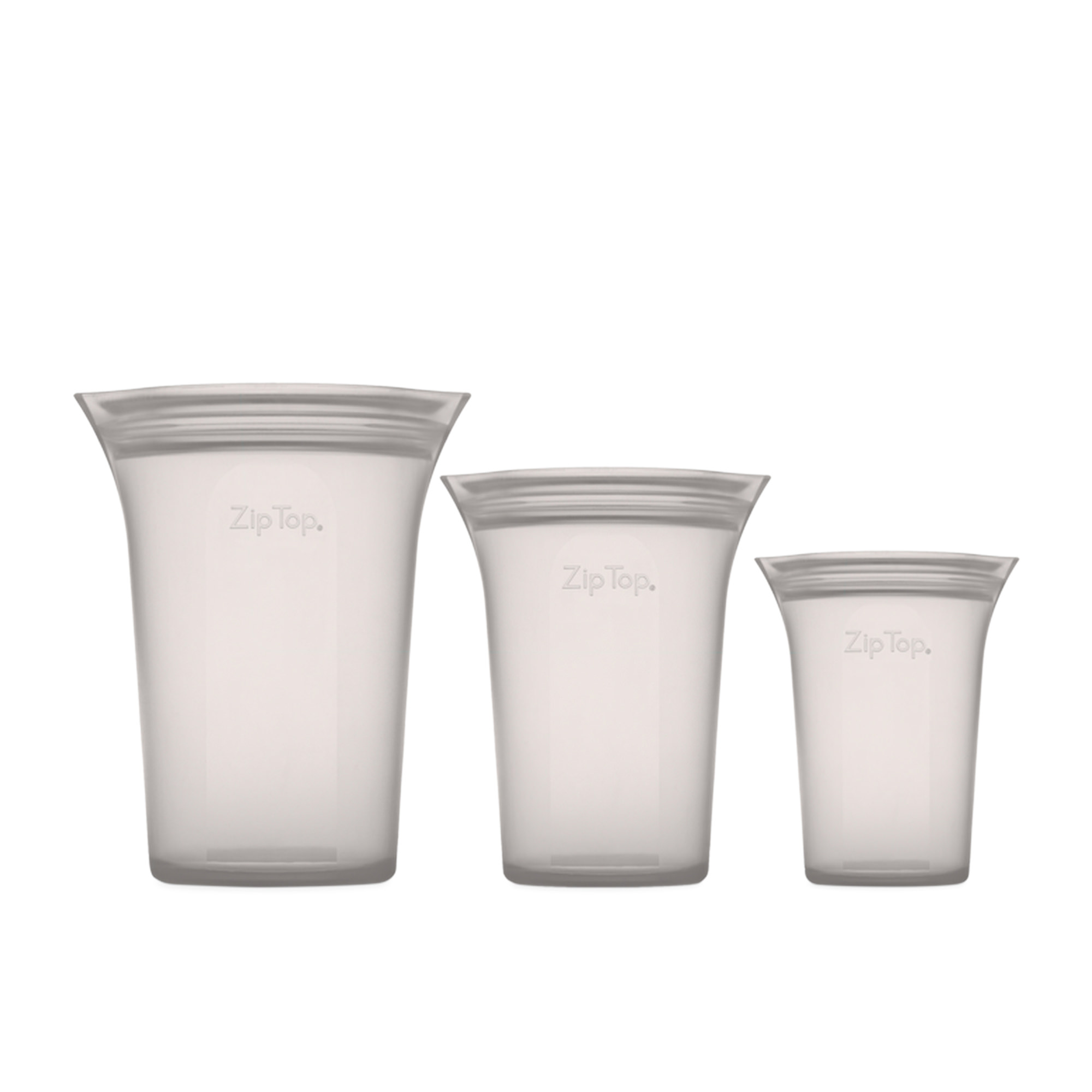 Zip Top 3pc Platinum Silicone Cup Container Set Grey