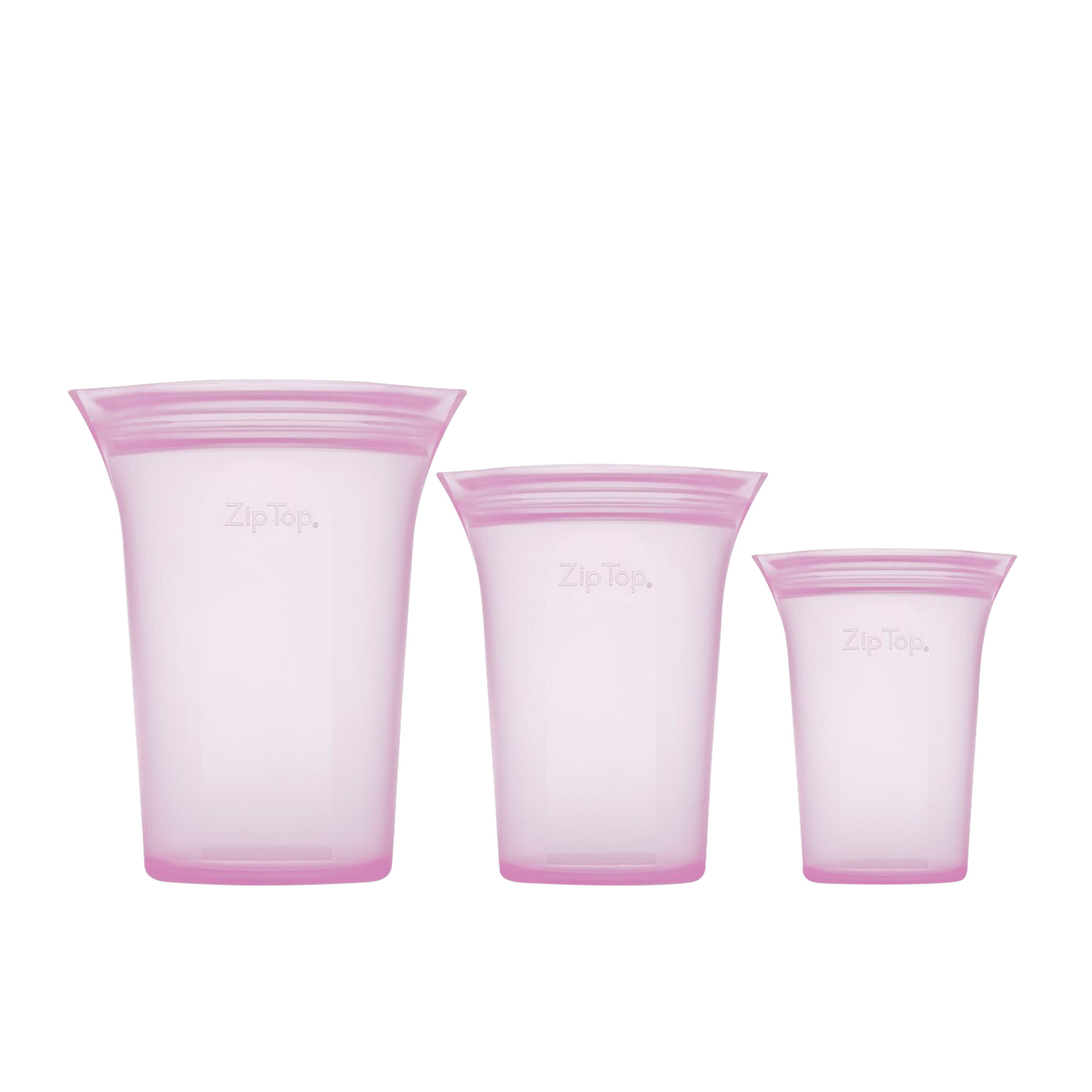 Zip Top 3pc Platinum Silicone Cup Container Set Lavender