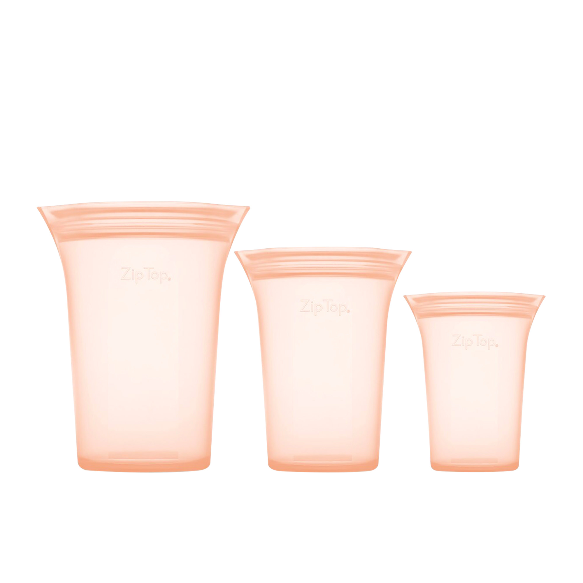 Zip Top 3pc Platinum Silicone Cup Container Set Peach