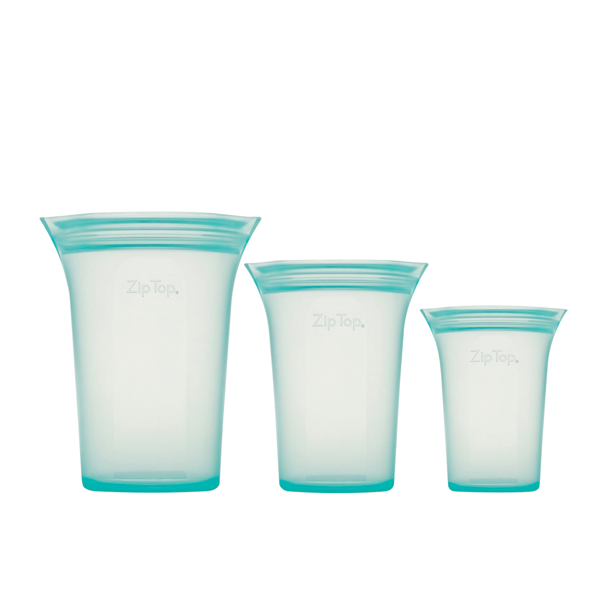 Zip Top 3pc Platinum Silicone Cup Container Set Teal