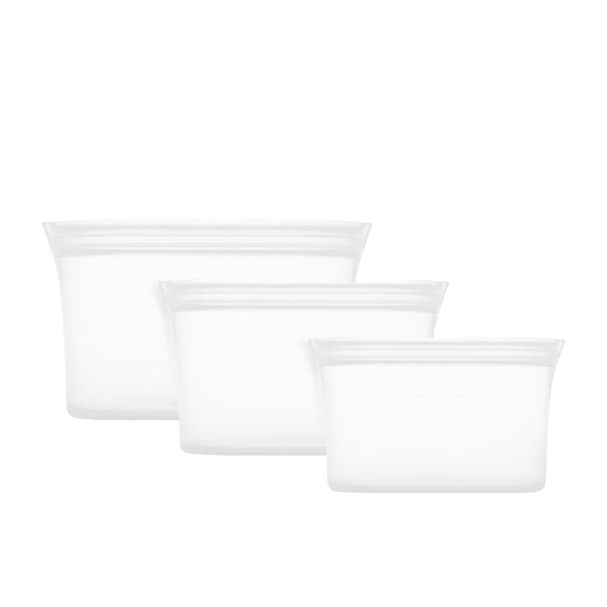 Zip Top 3pc Platinum Silicone Dish Container Set Clear