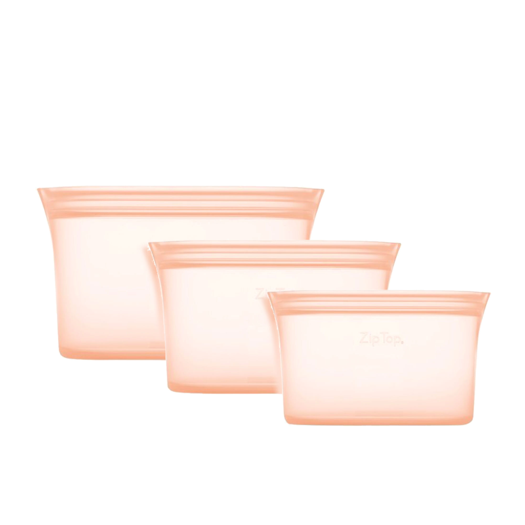 Zip Top 3pc Platinum Silicone Dish Container Set Peach