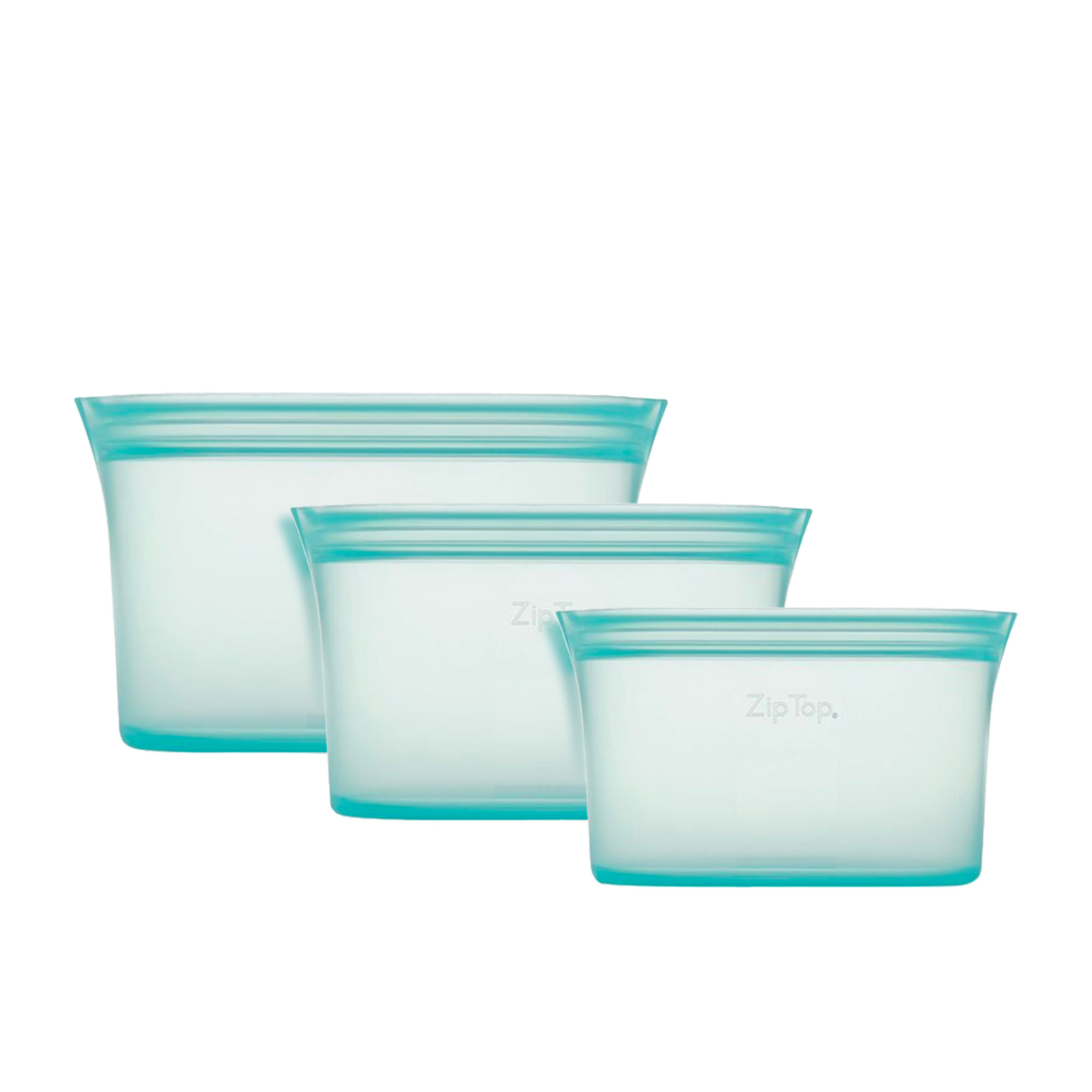 Zip Top 3pc Platinum Silicone Dish Container Set Teal