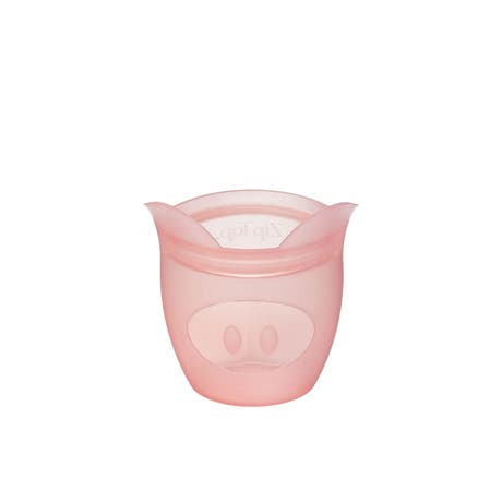 Zip Top Platinum Silicone Baby Snack Container 118ml Pig