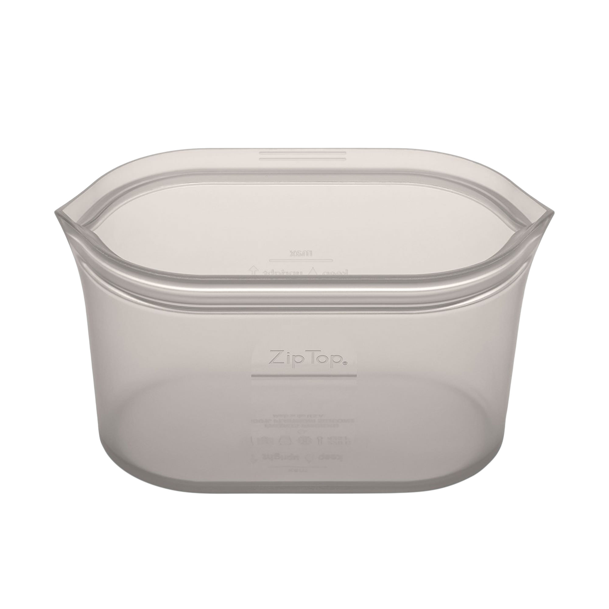 Zip Top Platinum Silicone Large Dish Container 946ml Grey