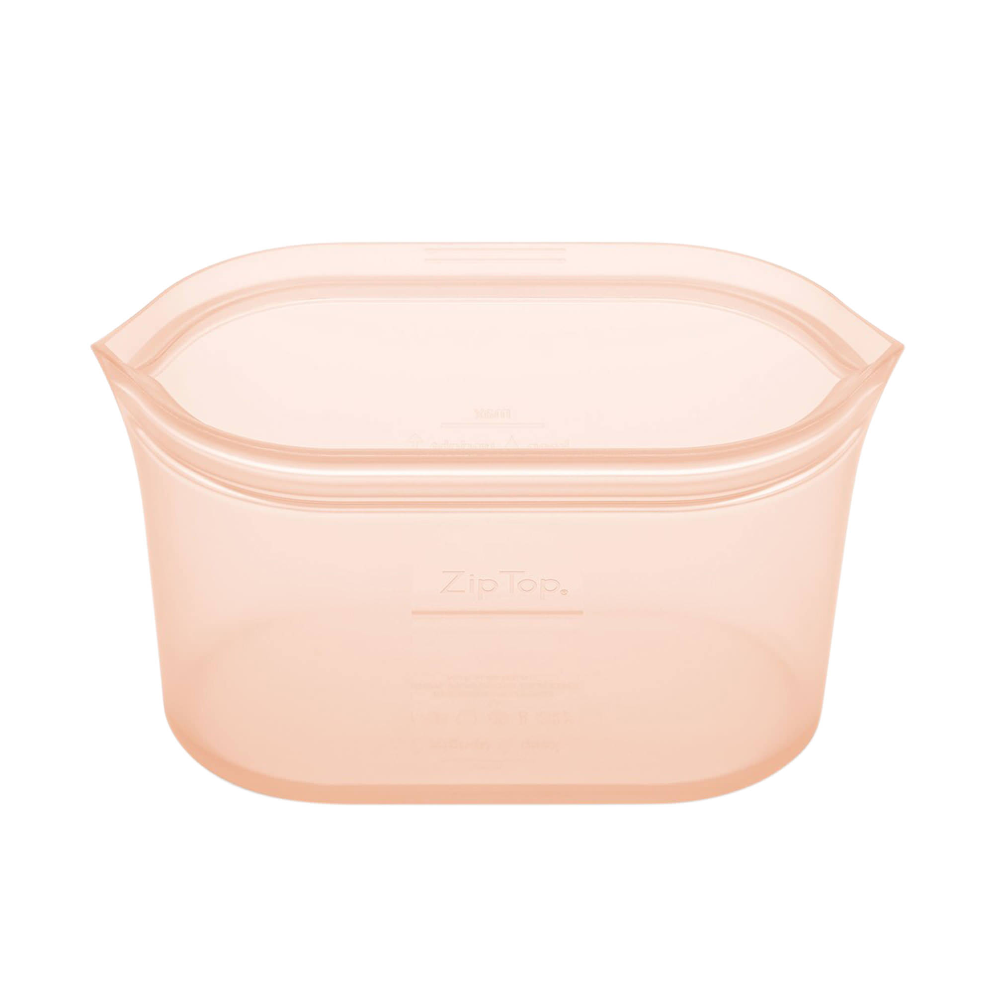 Zip Top Platinum Silicone Large Dish Container 946ml Peach