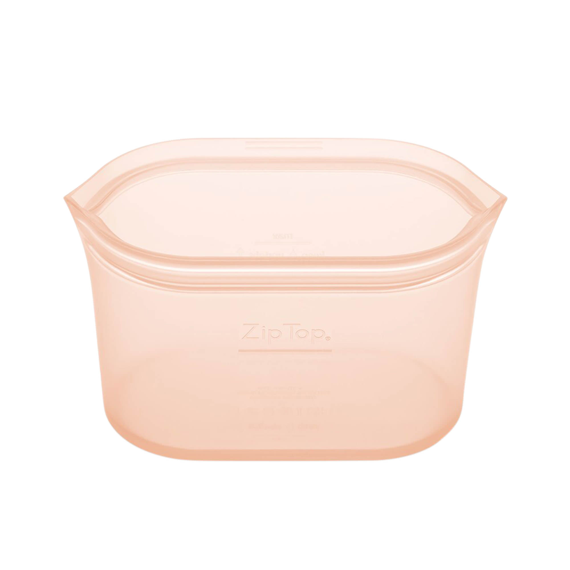 Zip Top Platinum Silicone Medium Dish Container 710ml Peach